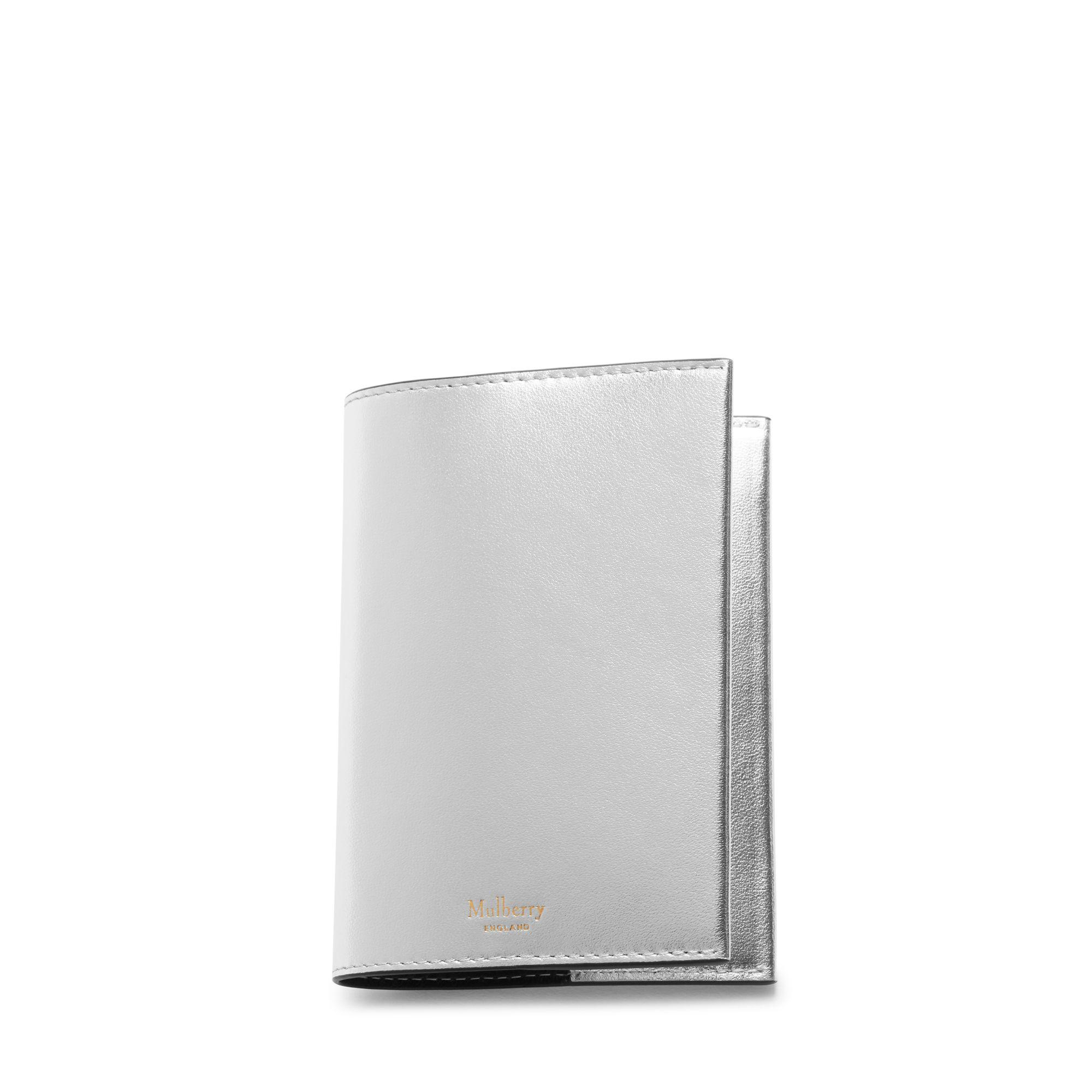 5f87b74e10c1 Mulberry - Passport Cover In Light Silver Metallic Nappa - Lyst. View  fullscreen