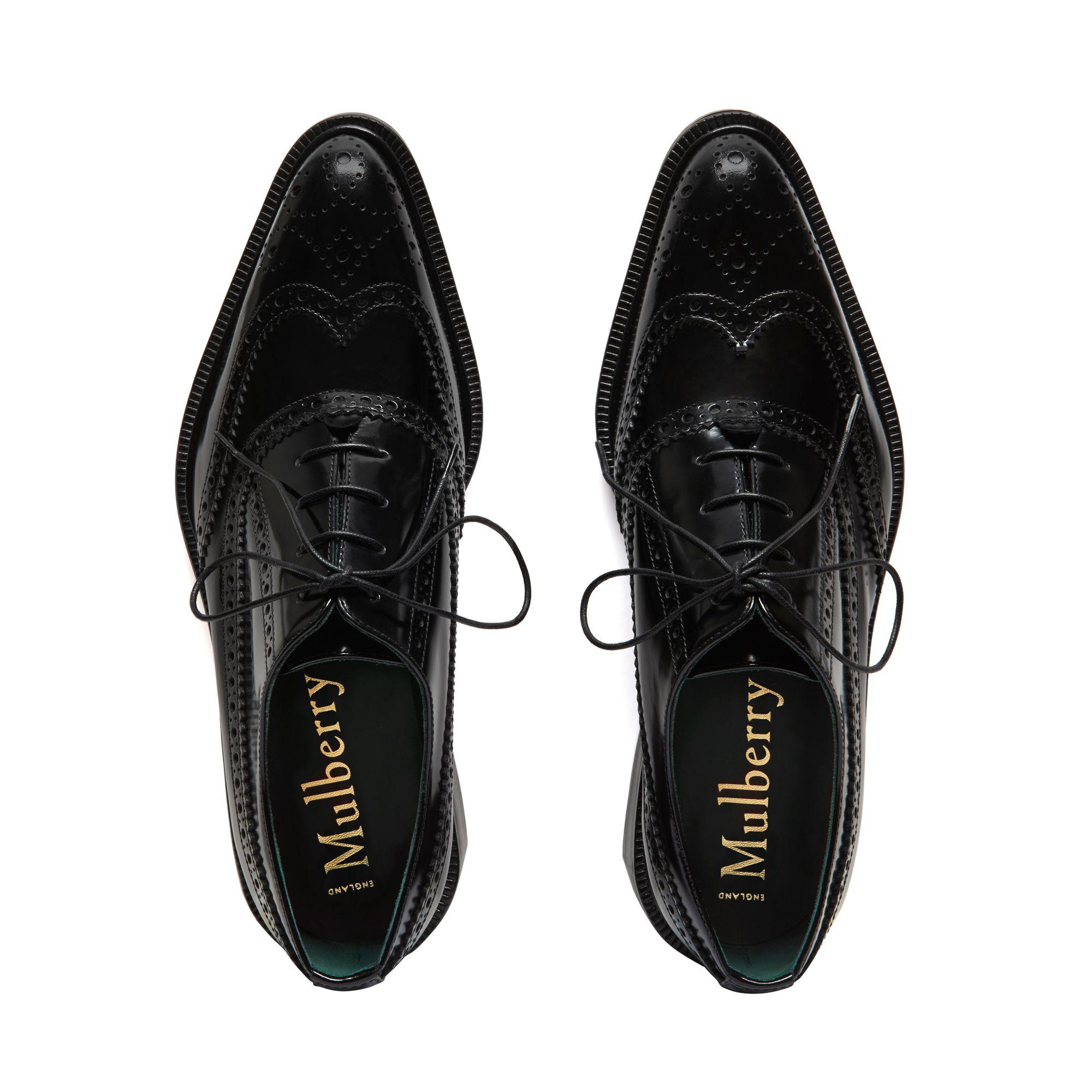 in Lace Black Shoes Leather Up Mulberry Lyst Oxford T6ZFRpwOxq