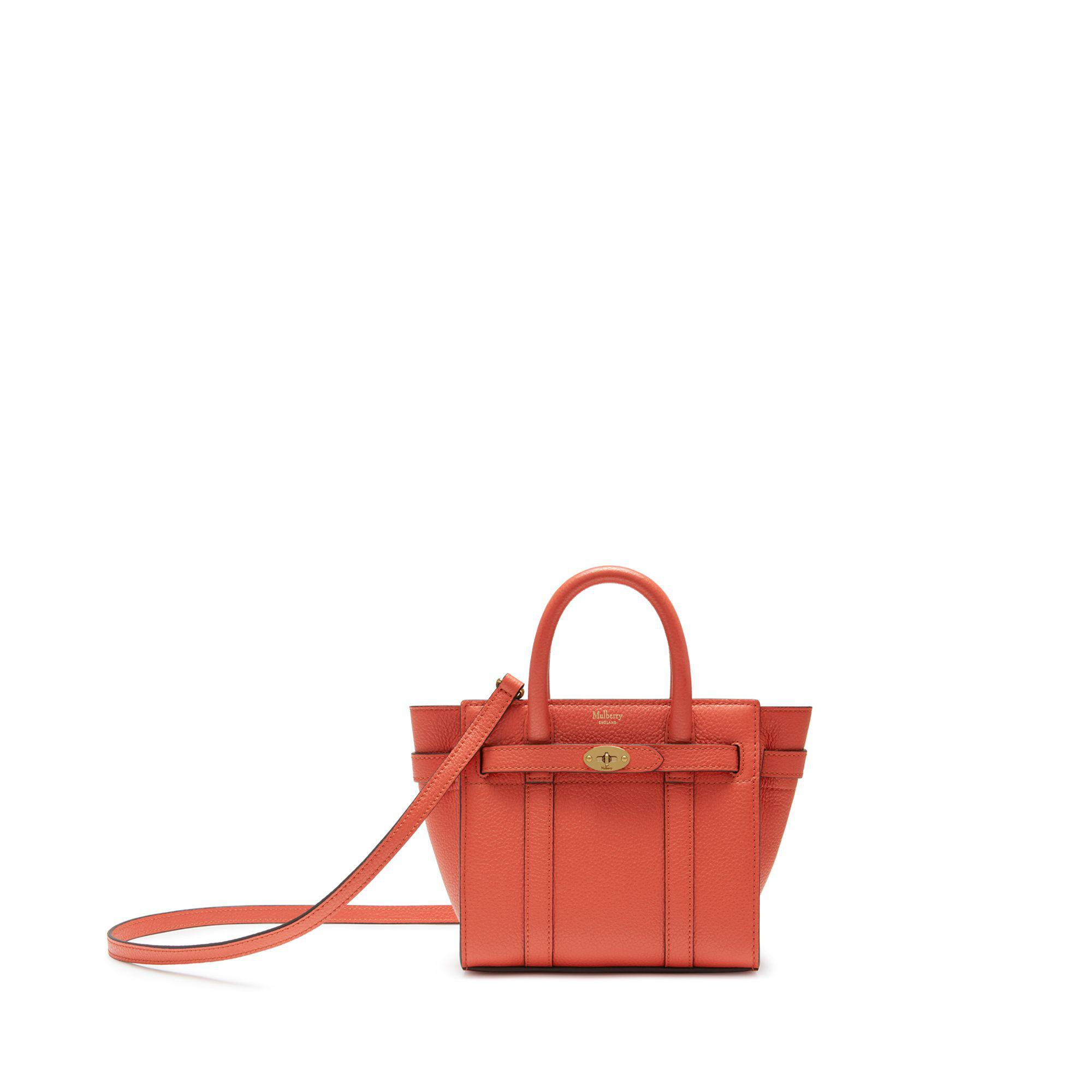 Lyst - Mulberry Micro Zipped Bayswater In Coral Rose Small Classic ... 3ea4b8b209126