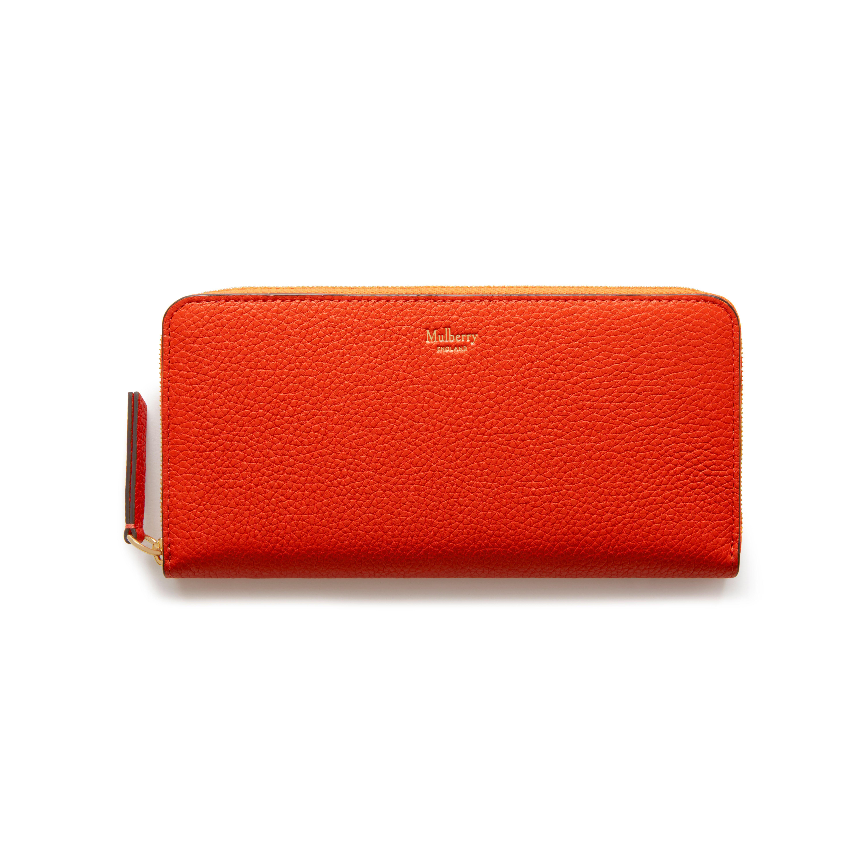 Mulberry 8 Card Zip Around Wallet in Orange