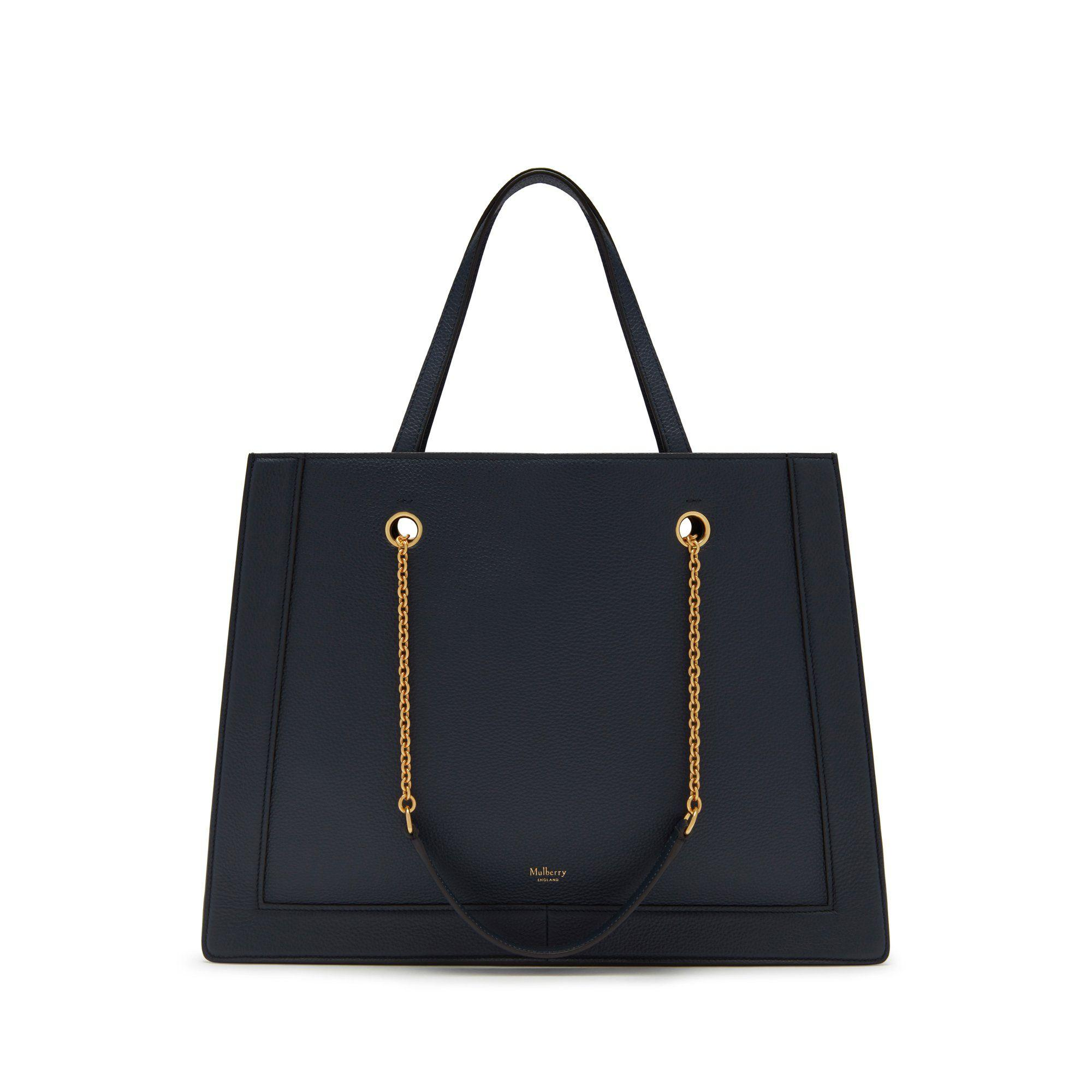 f2376f3268 Lyst - Mulberry Small Vale Tote In Bright Navy Small Classic Grain ...