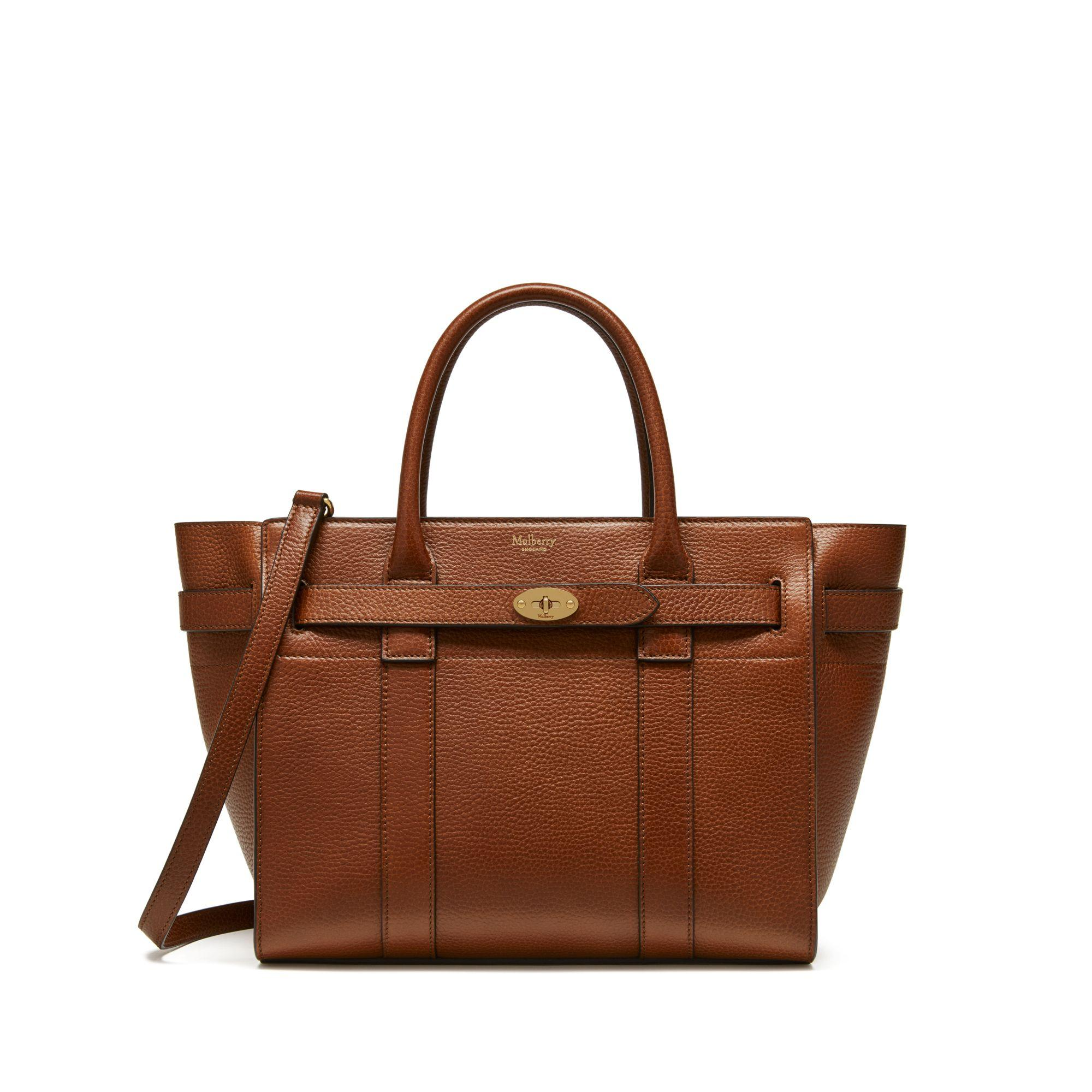 12d7bff9c05b Lyst - Mulberry Small Zipped Bayswater In Oak Natural Grain Leather ...