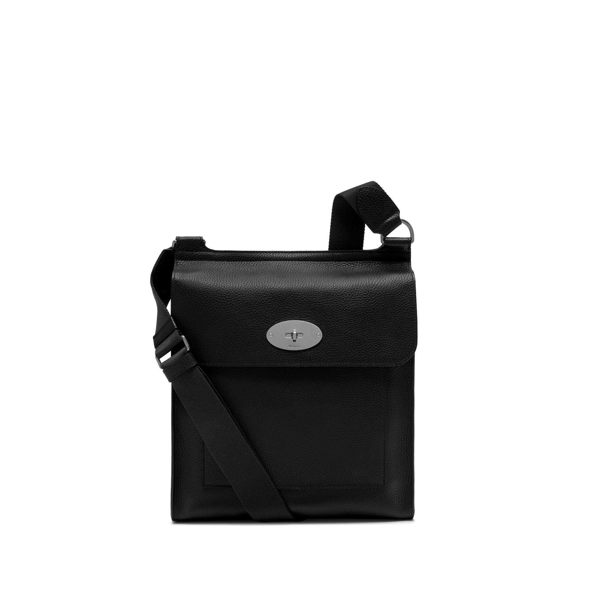 Mulberry New Antony Messenger In Black Natural Grain Leather in ... 1b63c7544dfe6
