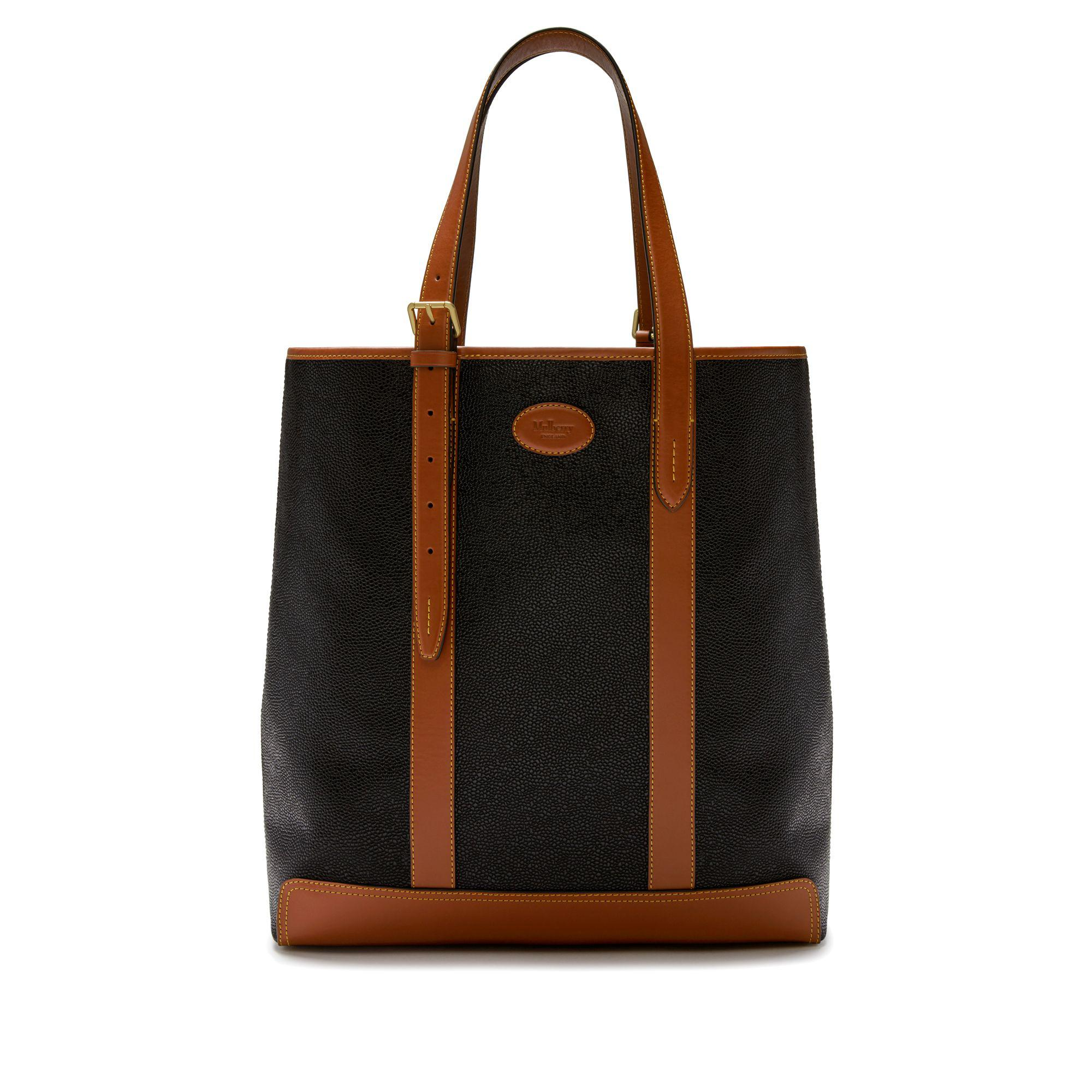 74d2f6aa1dd3 Lyst - Mulberry Heritage Tote In Black And Cognac Scotchgrain in ...
