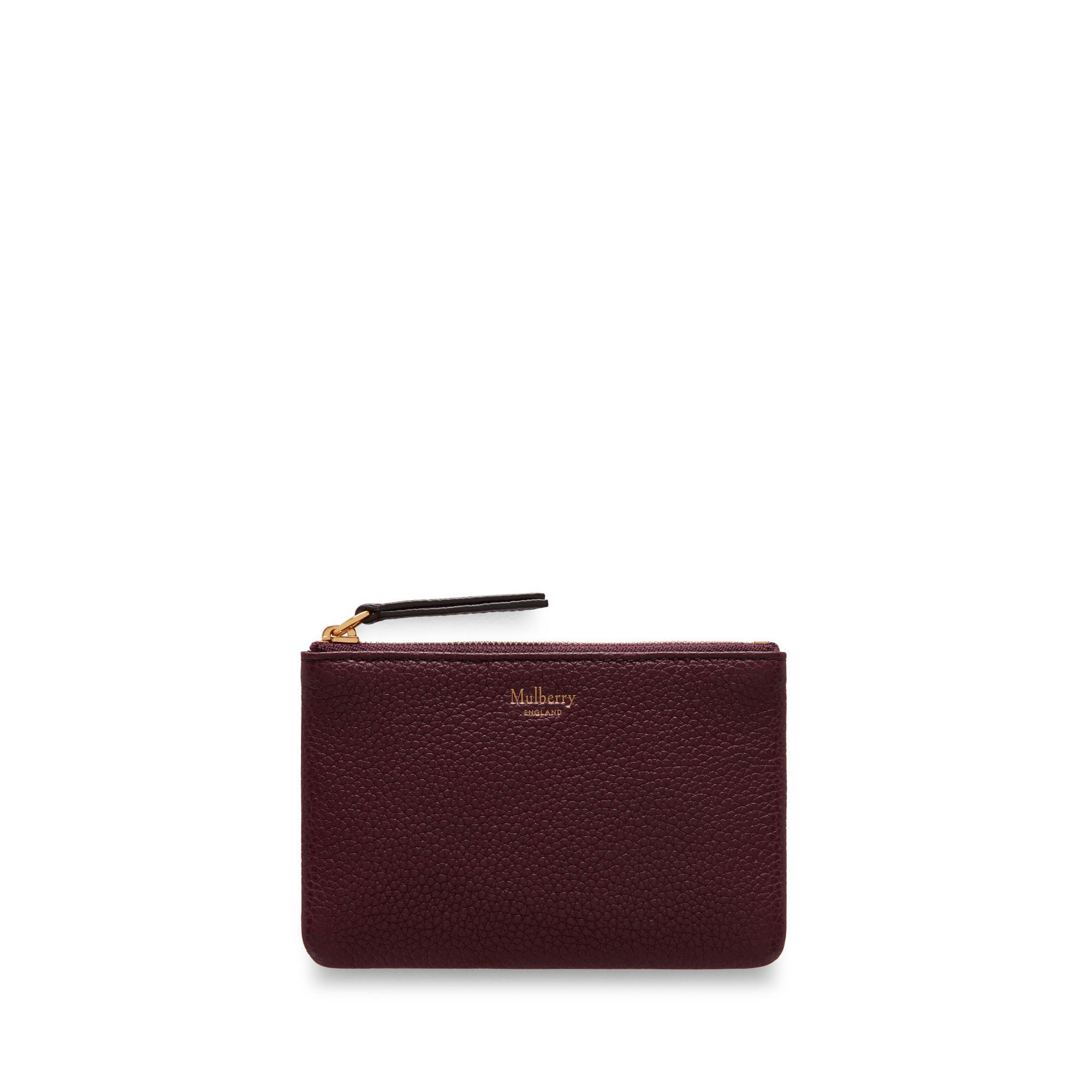 751a35c3e Mulberry Zip Coin Pouch In Burgundy Small Classic Grain in Purple - Lyst
