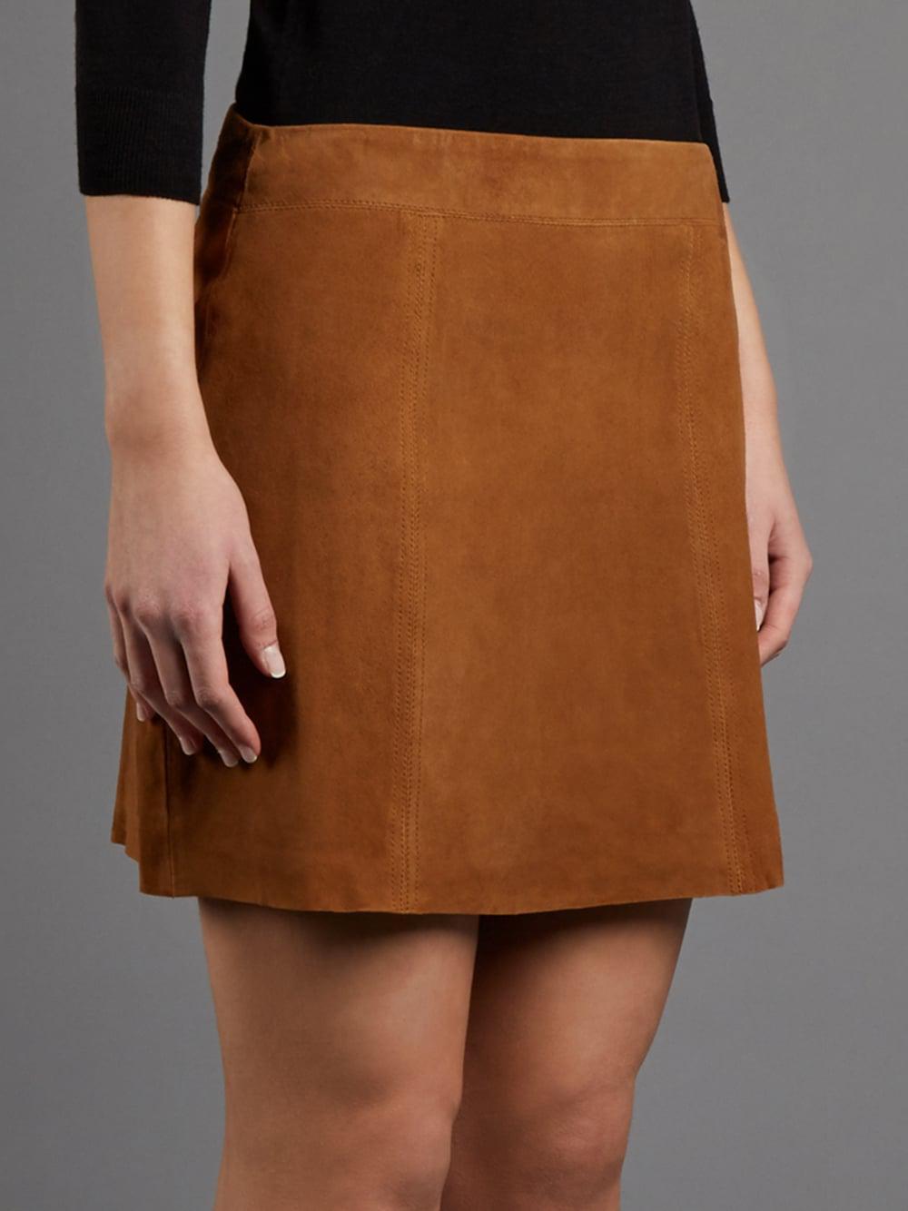 eba605d17c Muubaa Flore Tan Suede Mini Skirt in Brown - Lyst