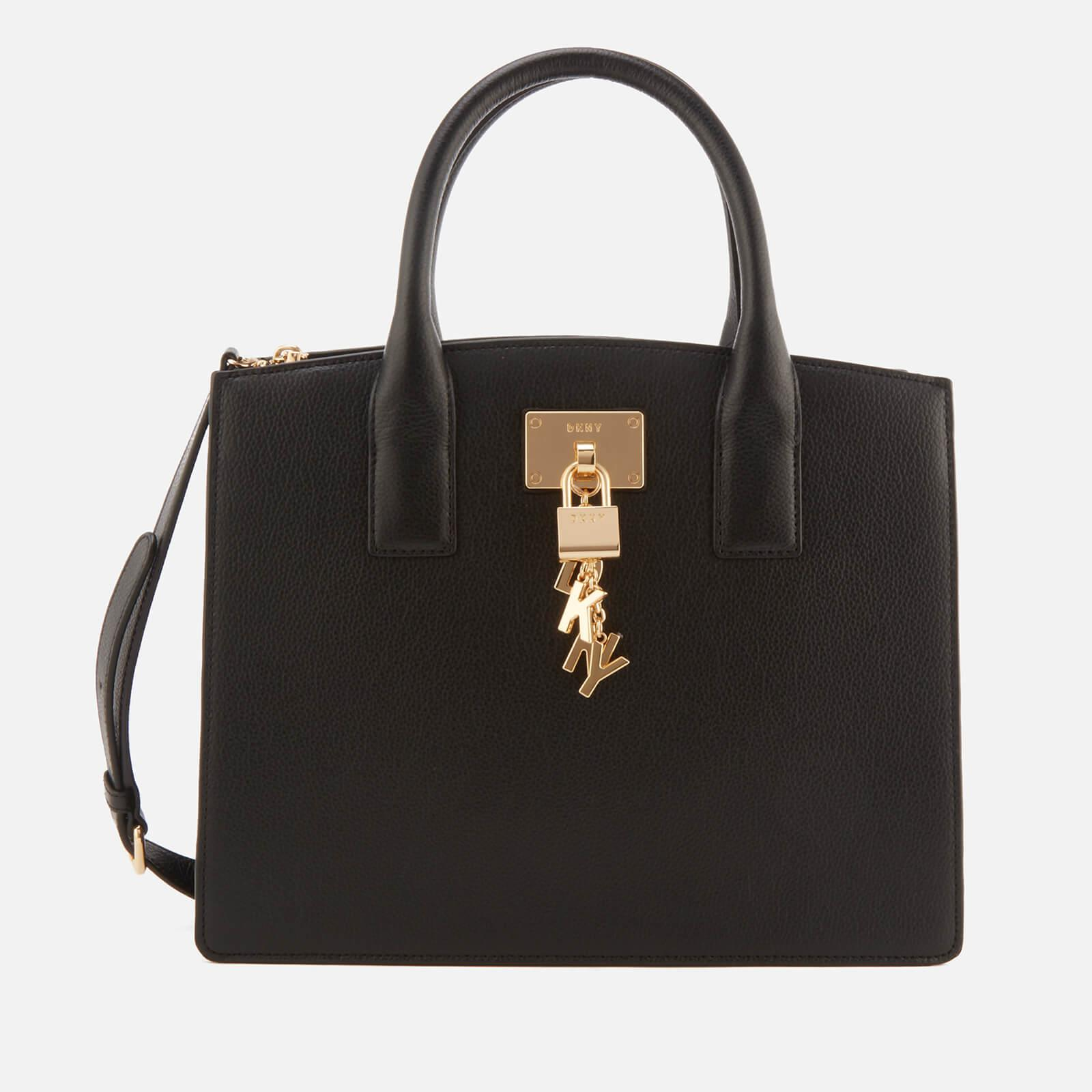a14f9f2c1 DKNY Black And Gold Grained Elissa Leather Tote Bag in Black - Lyst