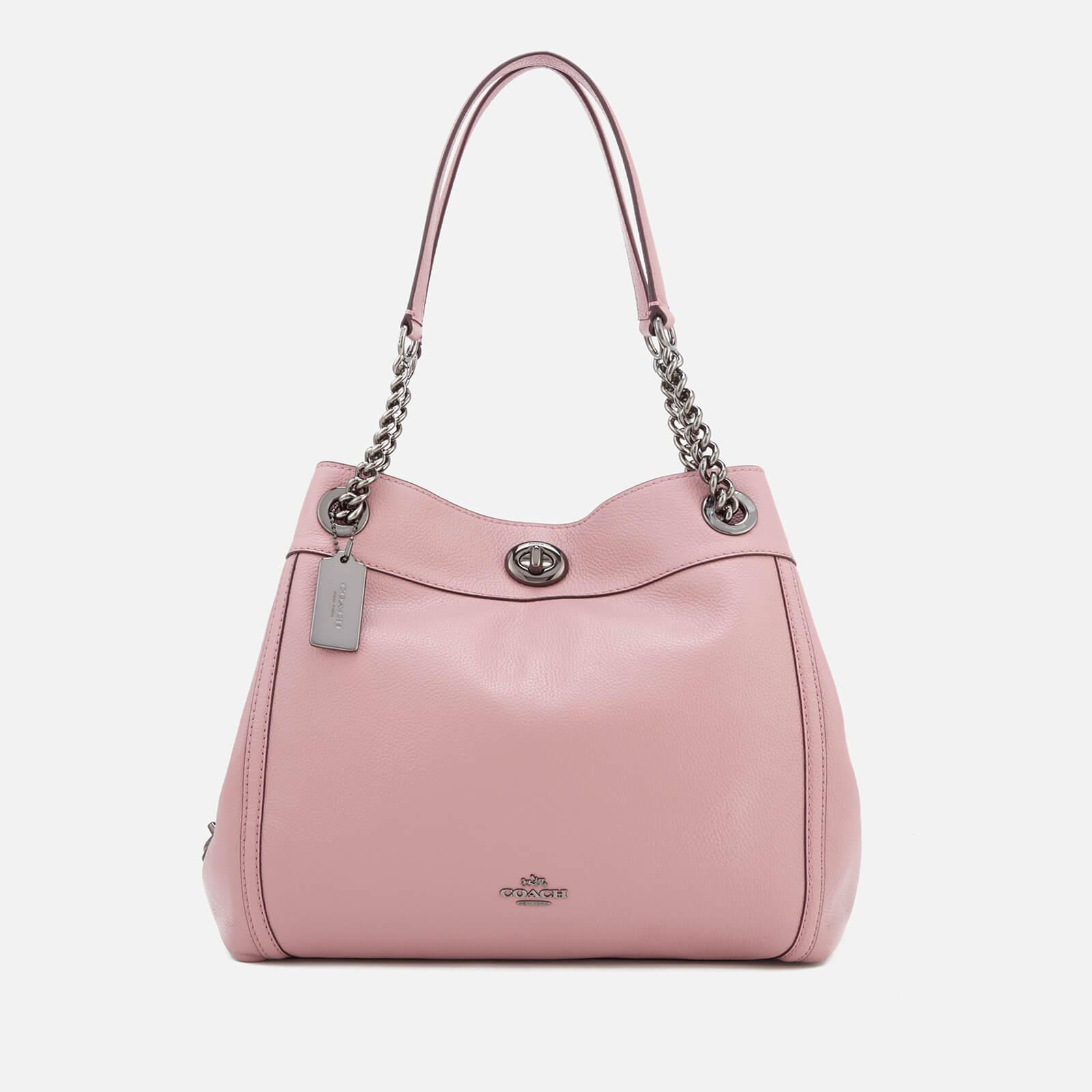 Tote - Edie Polished Leather Turnlock Shoulder Bag Peony - rose - Tote for ladies Coach z2PpnzA
