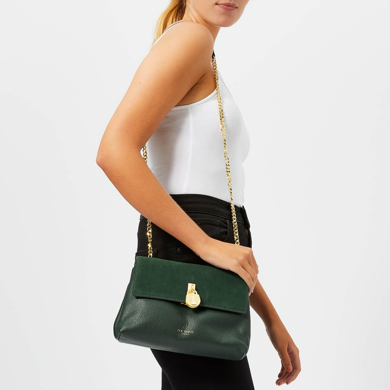 13e5d1c2ff0a Ted Baker Helena Suede Padlock Cross Body Bag in Green - Lyst