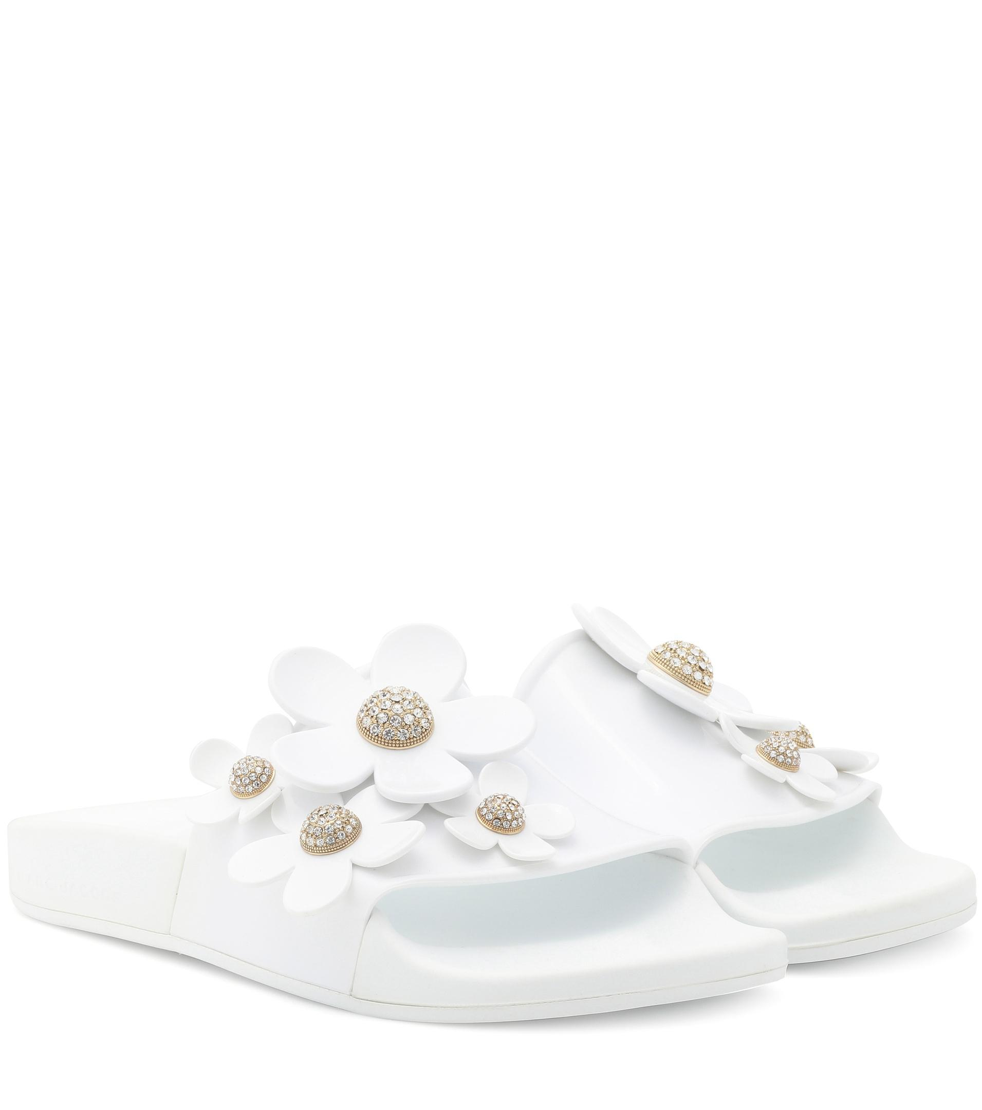 4cab53841dabdf Lyst - Marc Jacobs Embellished Jelly Slides in White - Save 66%