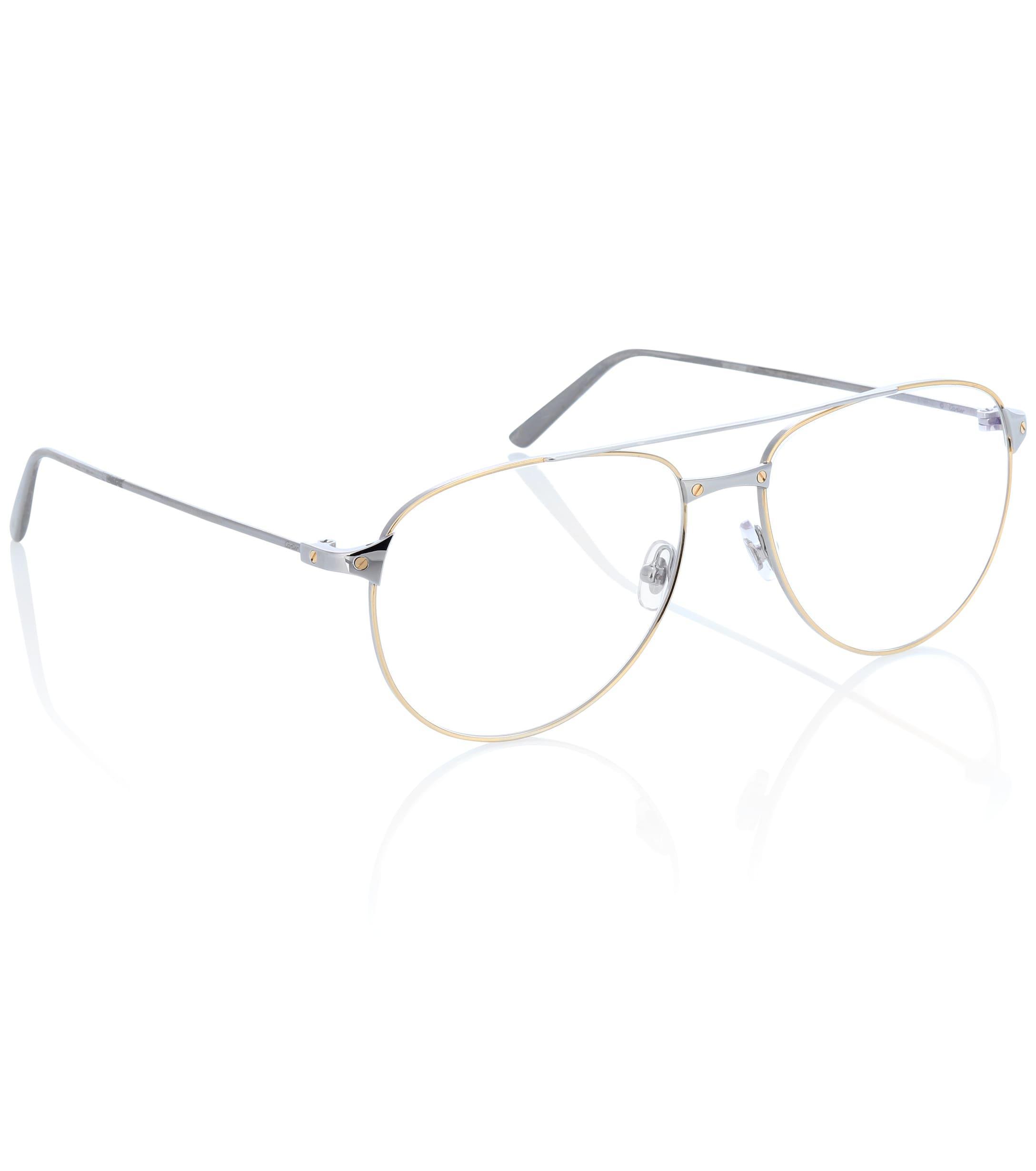 a43eeb59be73a Cartier - Metallic Santos De Cartier Aviator Glasses - Lyst. View fullscreen