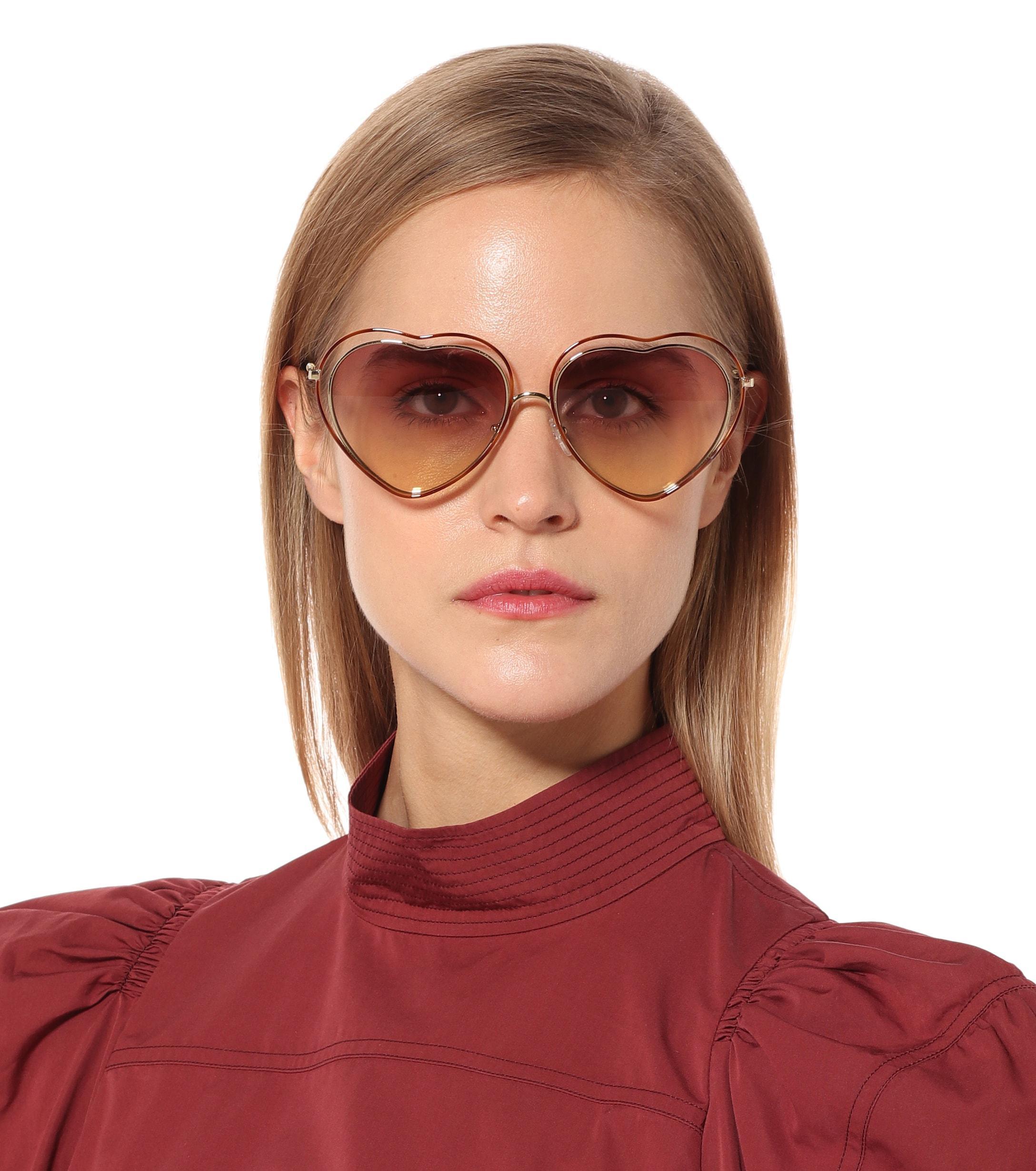 6cffa7e667a Poppy Heart-shaped Sunglasses - Lyst. View fullscreen