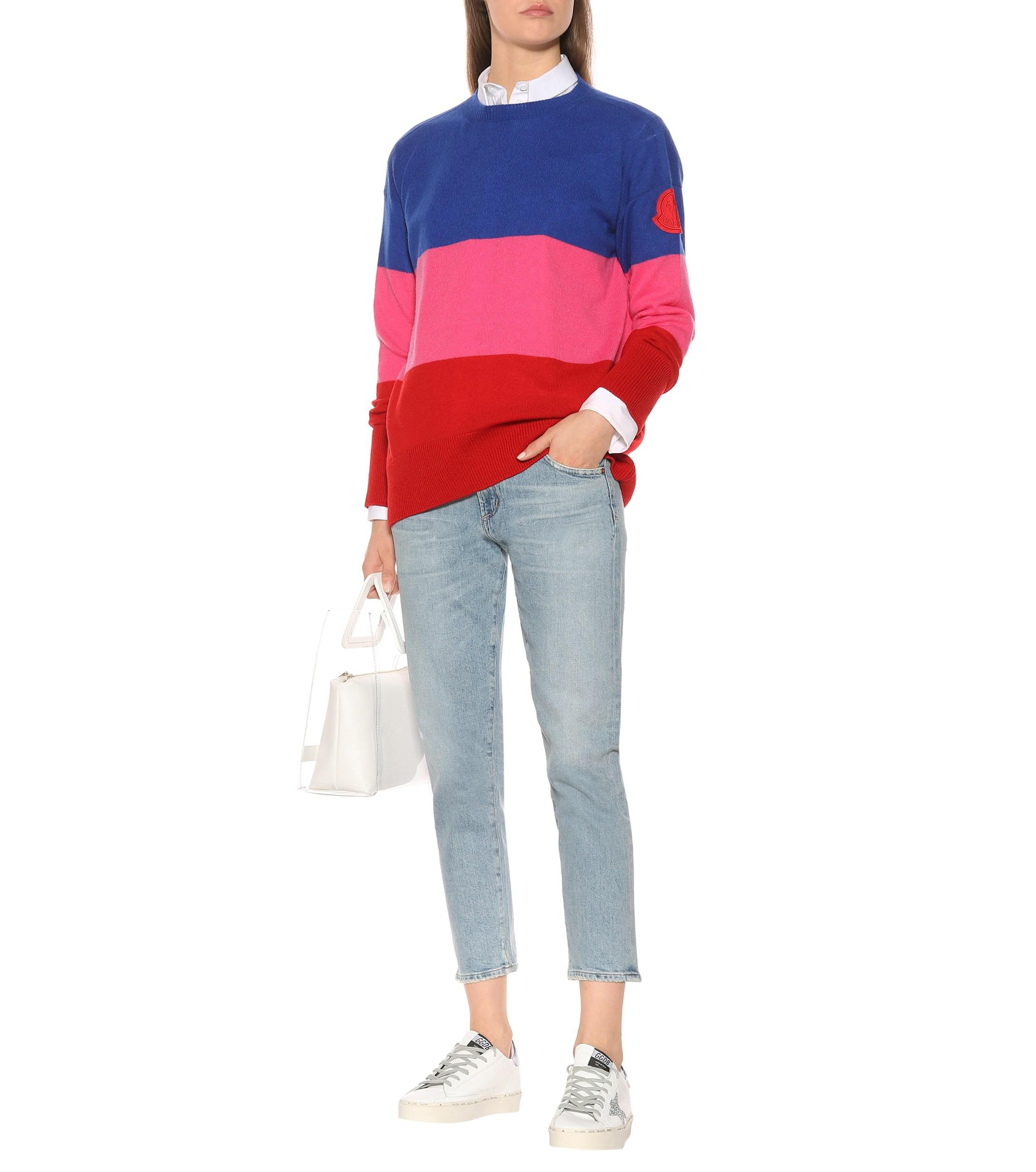 d7b50edf80f40a Lyst - Moncler Striped Cashmere Sweater in Red - Save 26%