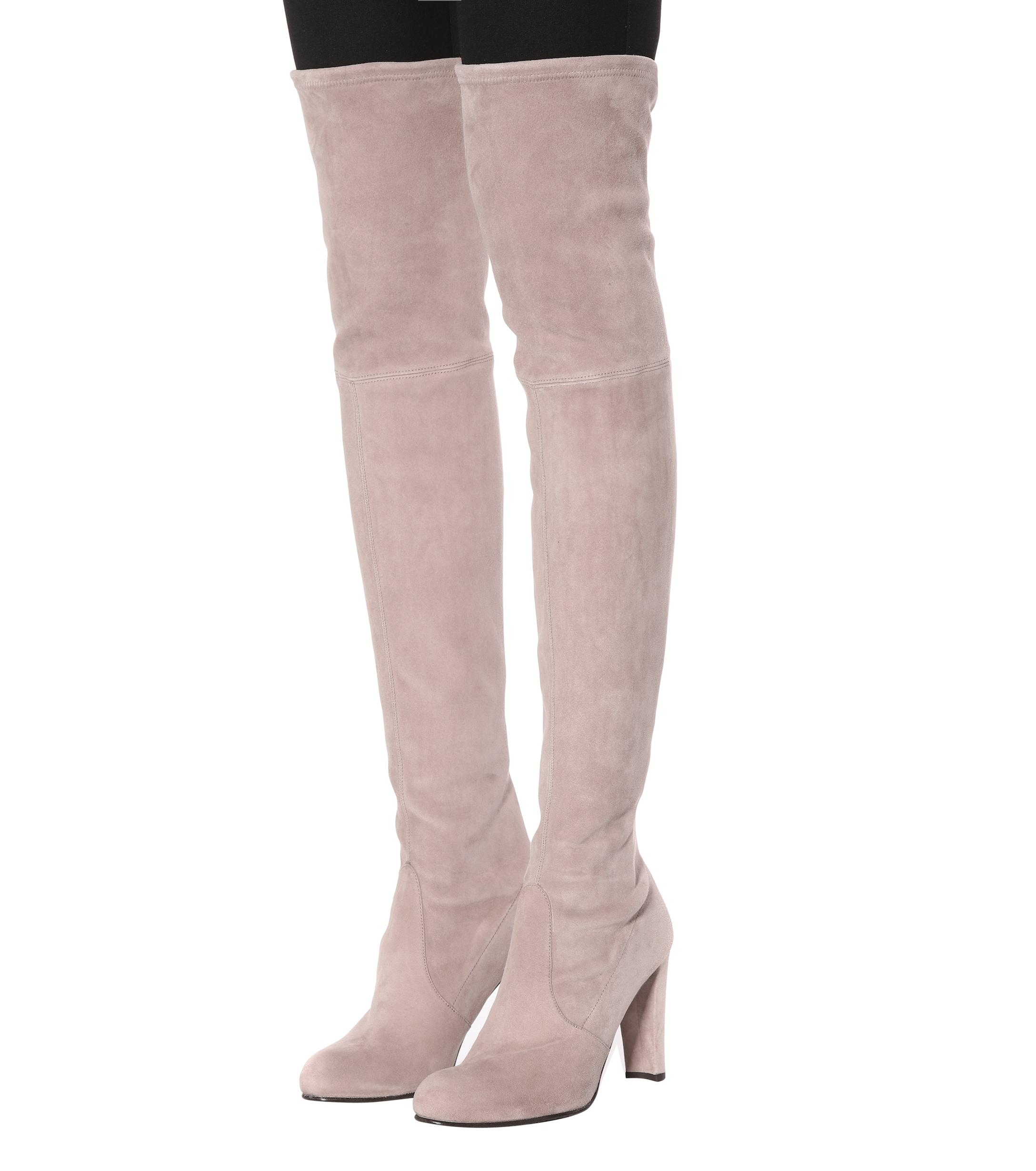 Stuart Weitzman Highland Suede Over The Knee Boots In Gray