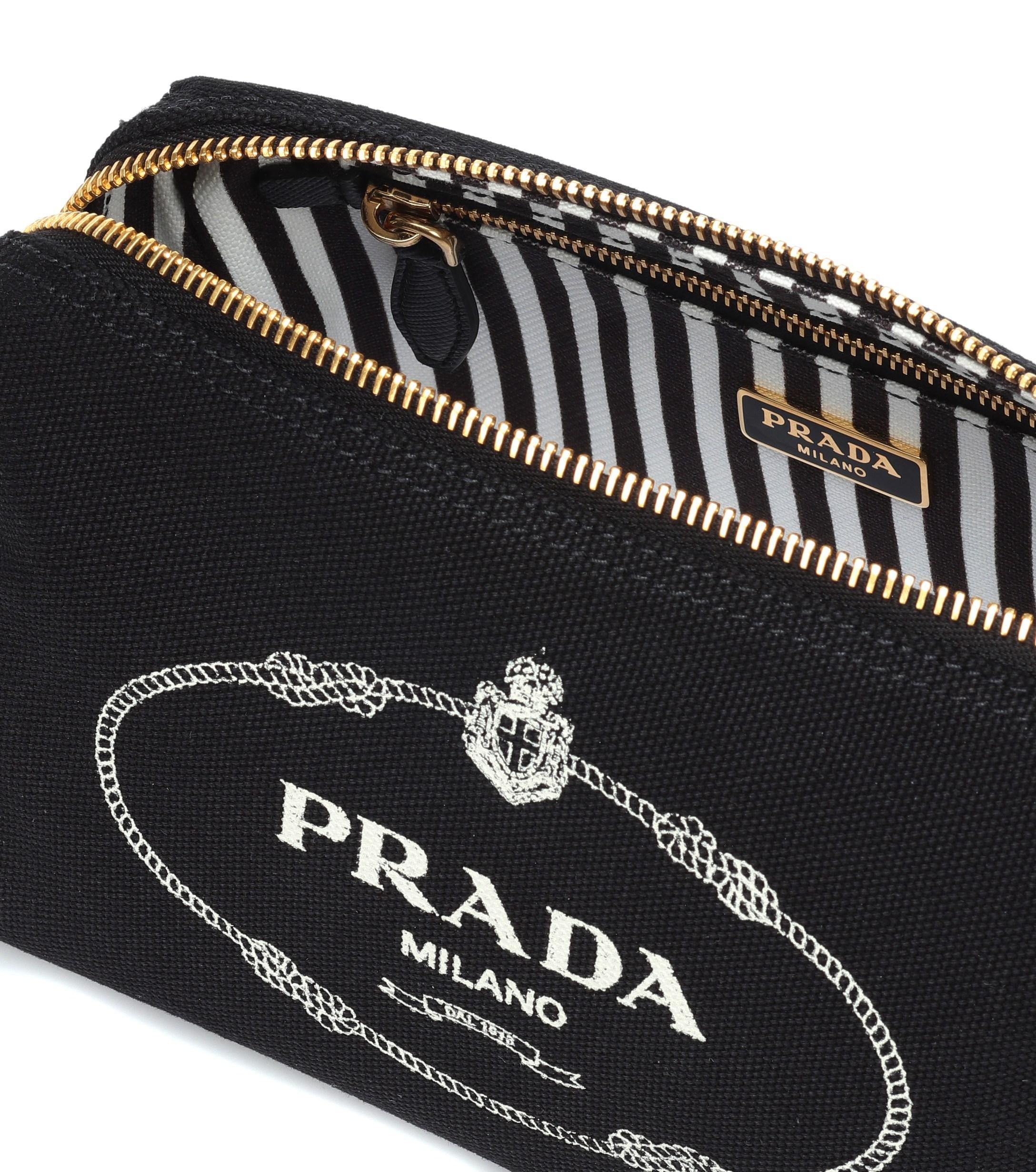 a011f1a0de5b Prada - Black Logo Canvas Cosmetics Case - Lyst. View fullscreen