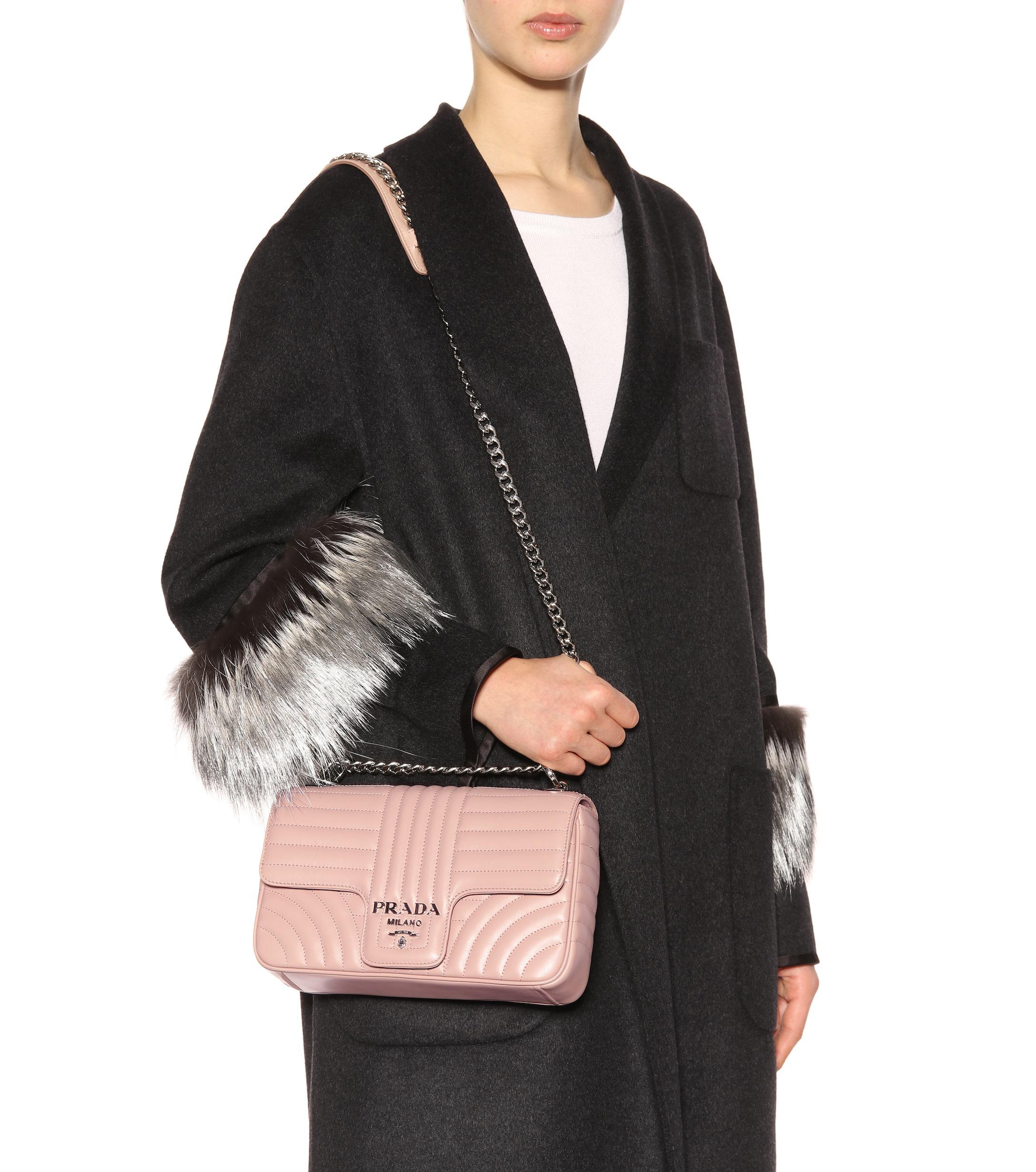 Prada - Pink Diagramme Medium Leather Shoulder Bag - Lyst. View fullscreen 7b5ef7ea6e9c6