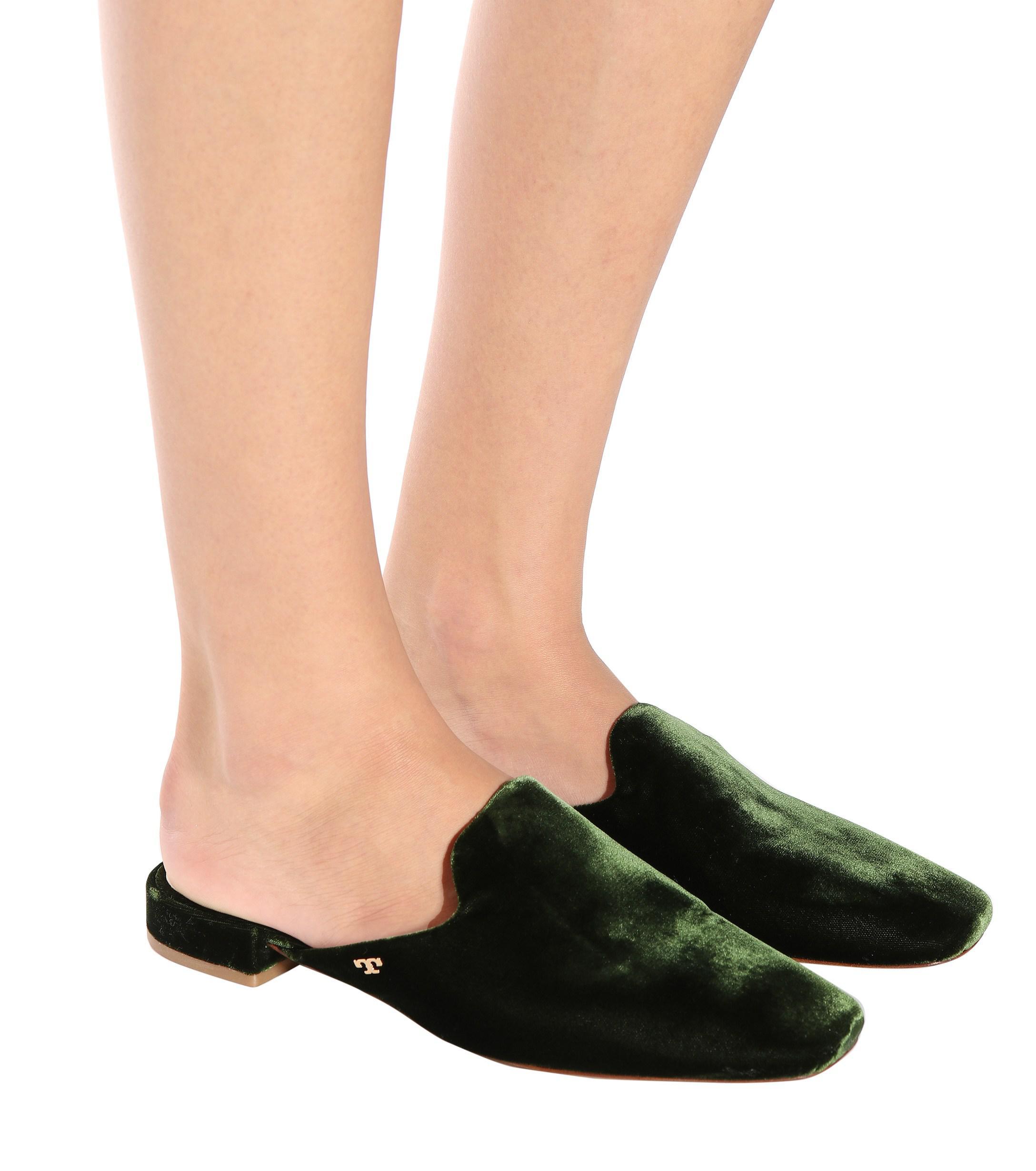 a6c7a219ffbb Lyst - Tory Burch Carlotta Velvet Mules in Green