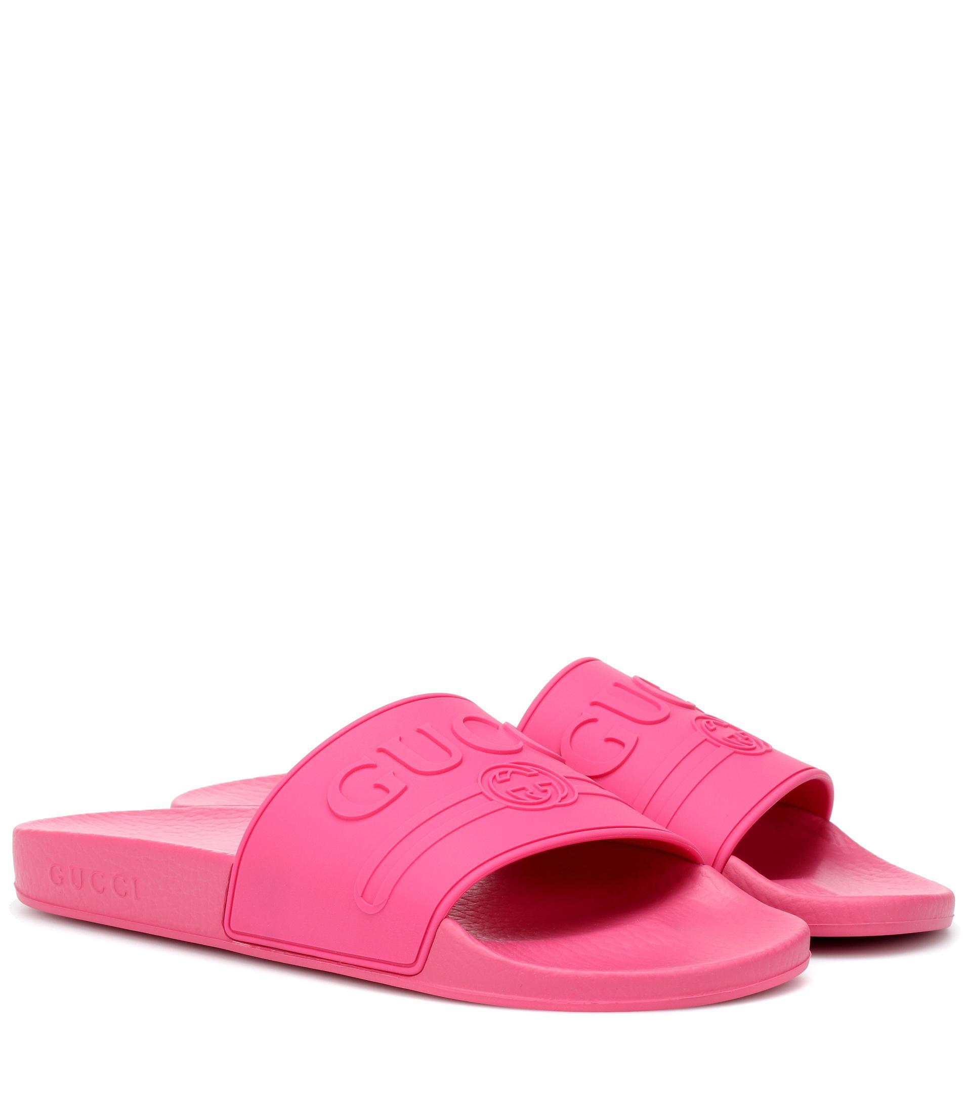 484ece6f9331c0 Gucci - Pink Logo-embossed Slides - Lyst. View fullscreen