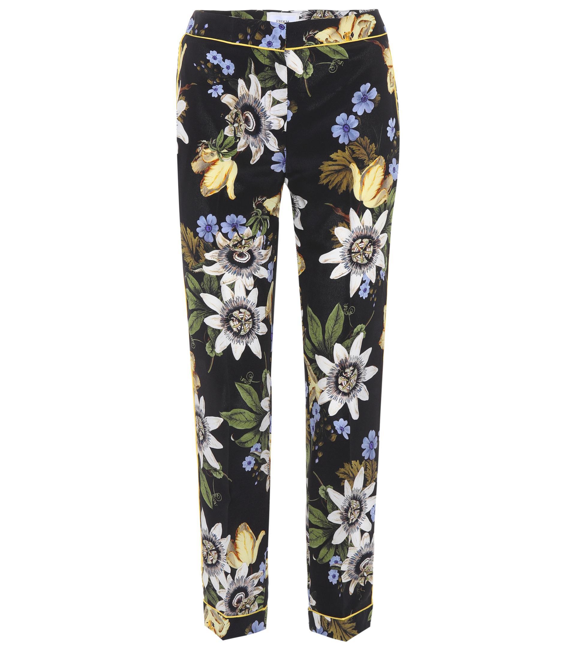 Pantalon De Soie Imprimé Floral Ginnie Erdem WBo3RrT