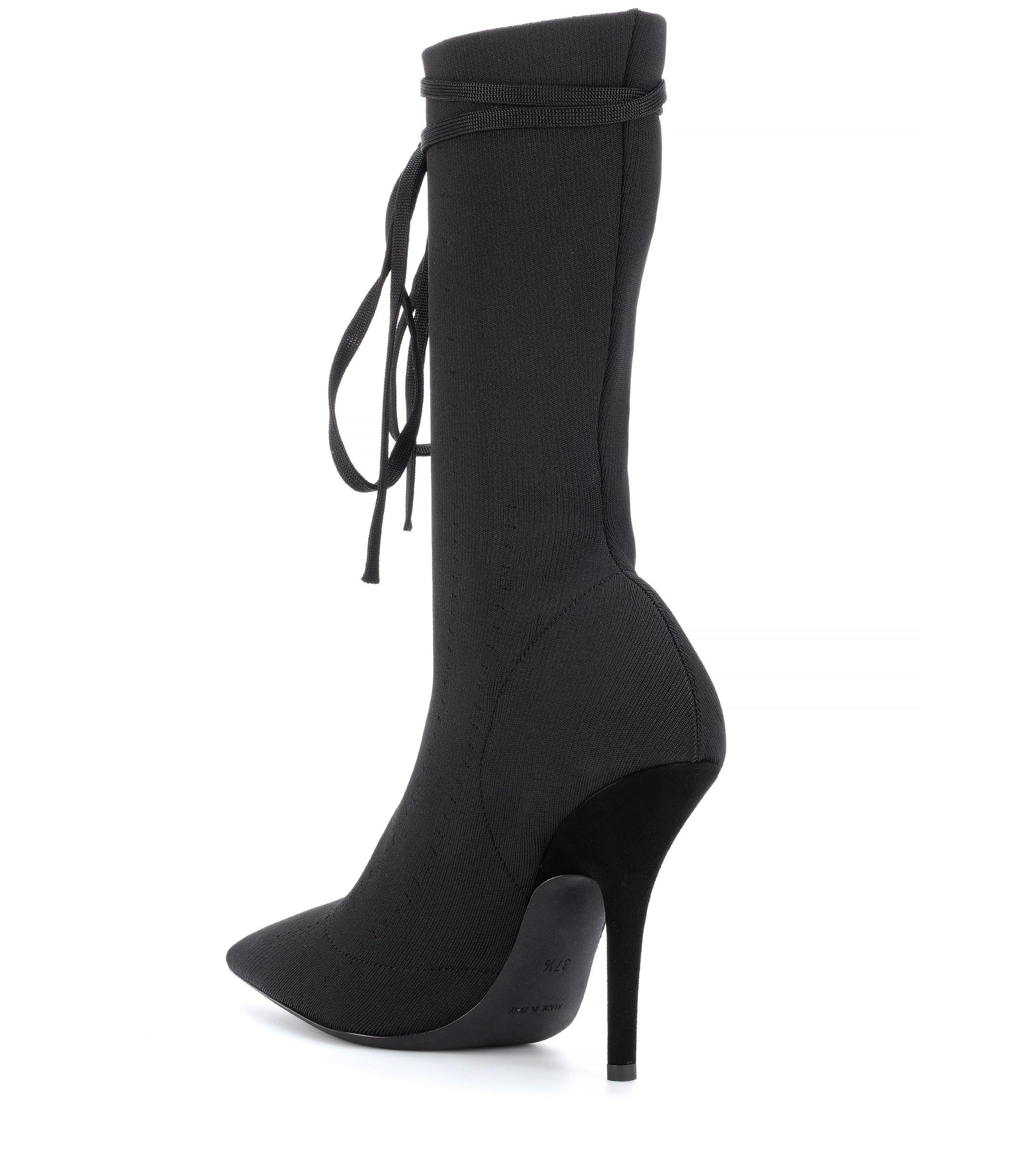 2a2824dd838 Yeezy - Black Lace-up Knit Ankle Boots (season 5) - Lyst. View fullscreen