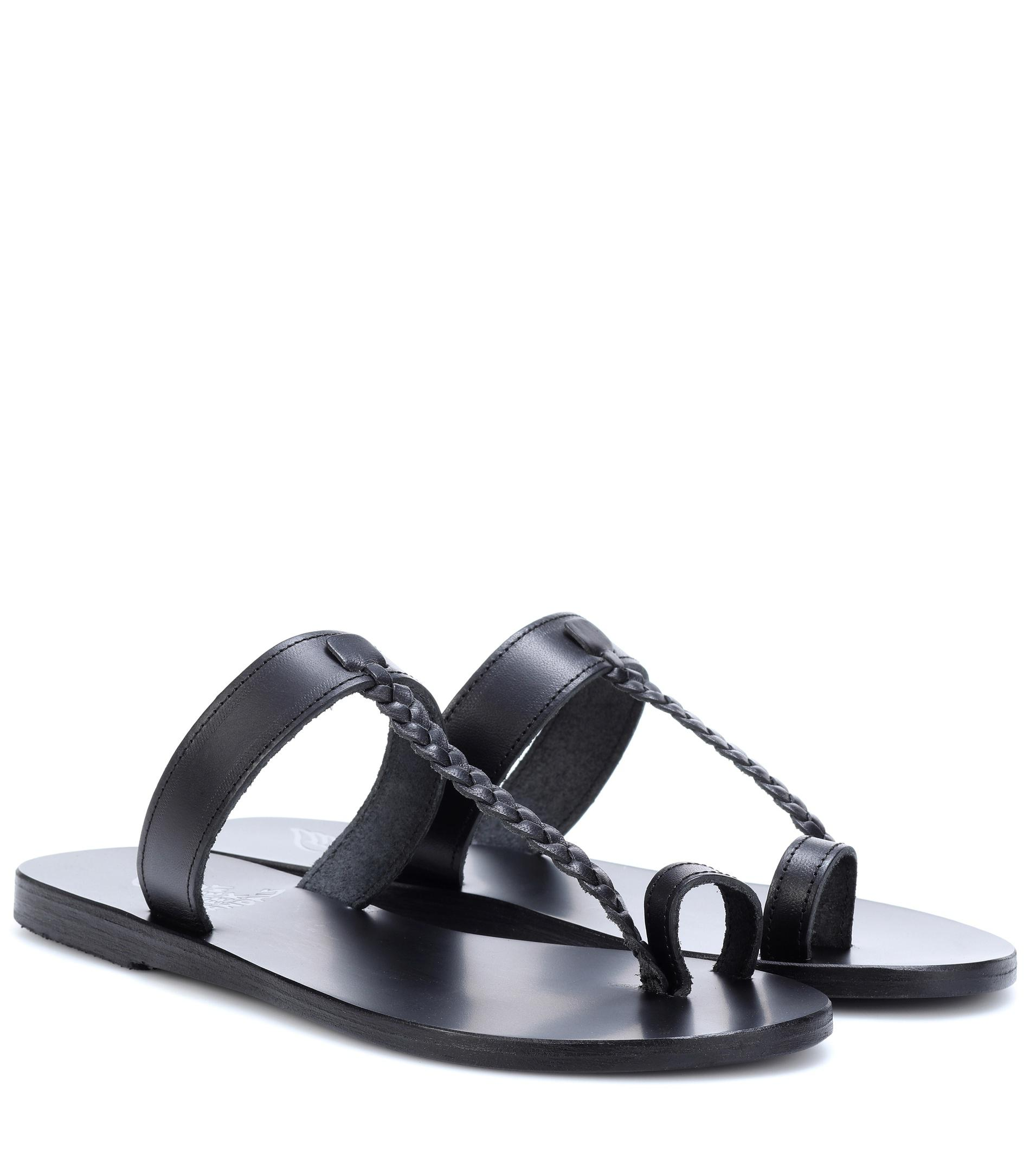 Melpomeni Nails Studded Leather Sandals - Black Ancient Greek Sandals 5XNIXScH4