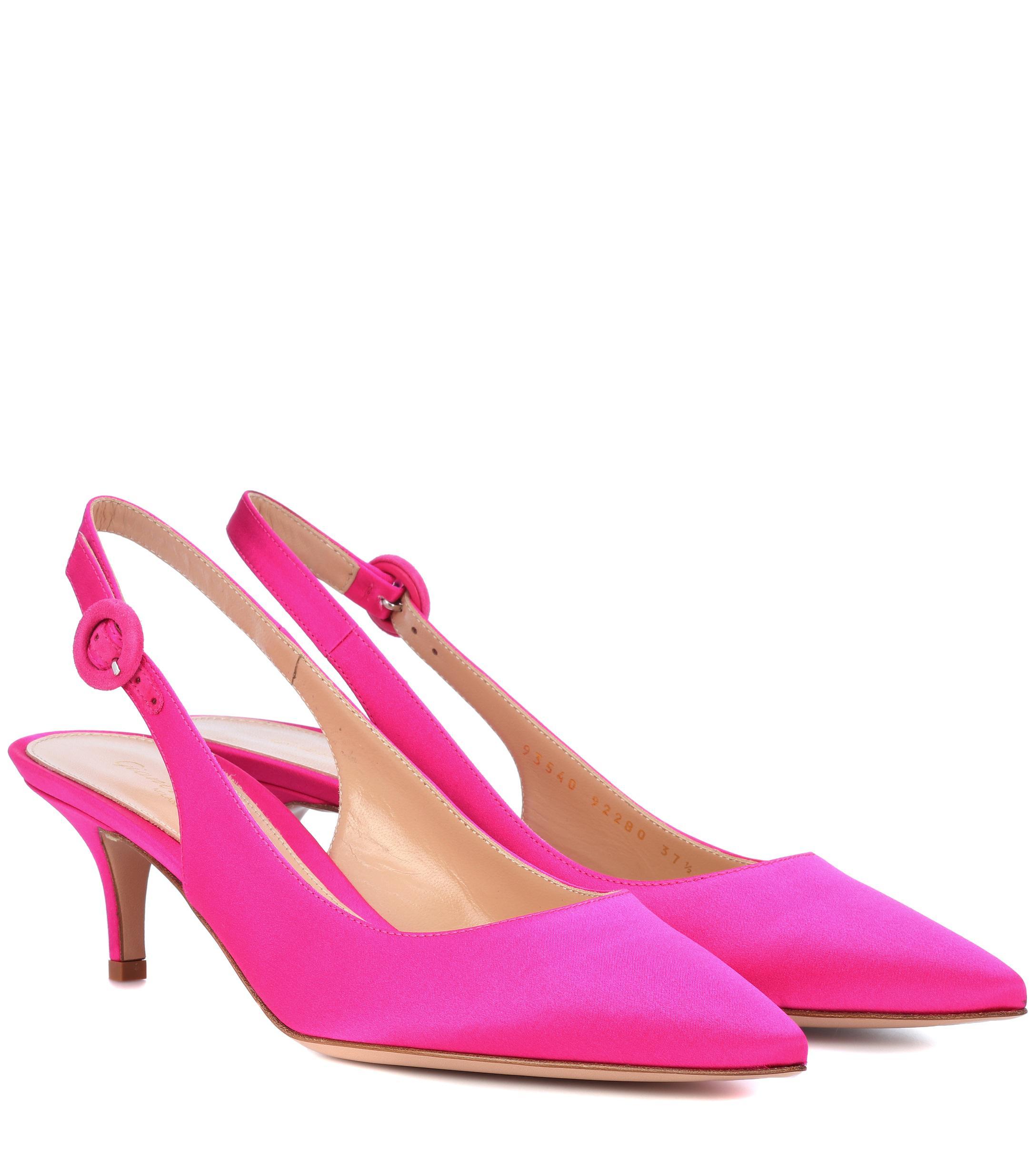 3e7ff4ea92e Lyst - Gianvito Rossi Anna Satin Slingback Pumps in Pink