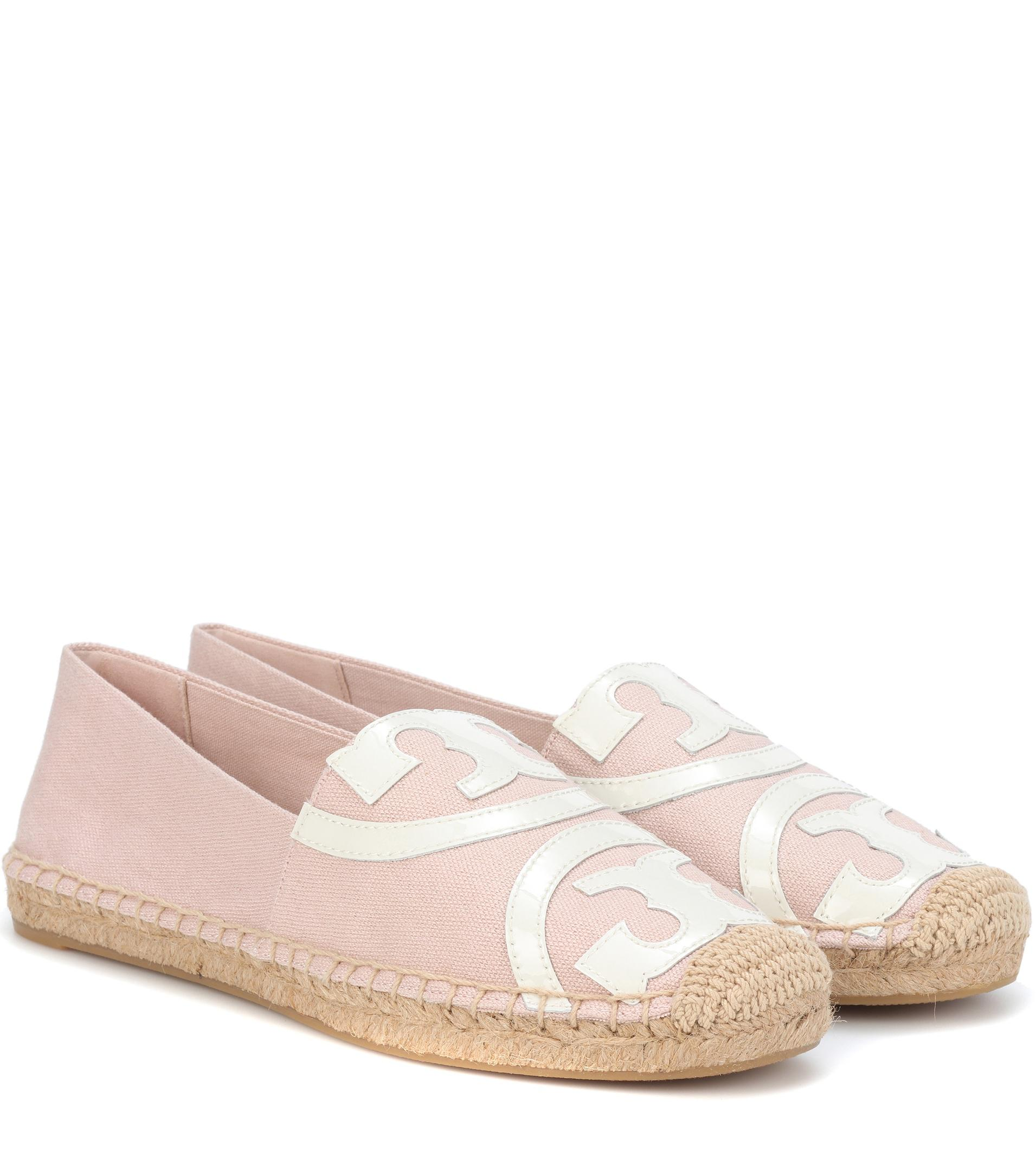 8aa5fba28846d Lyst - Tory Burch Poppy Leather-trimmed Espadrille in Pink