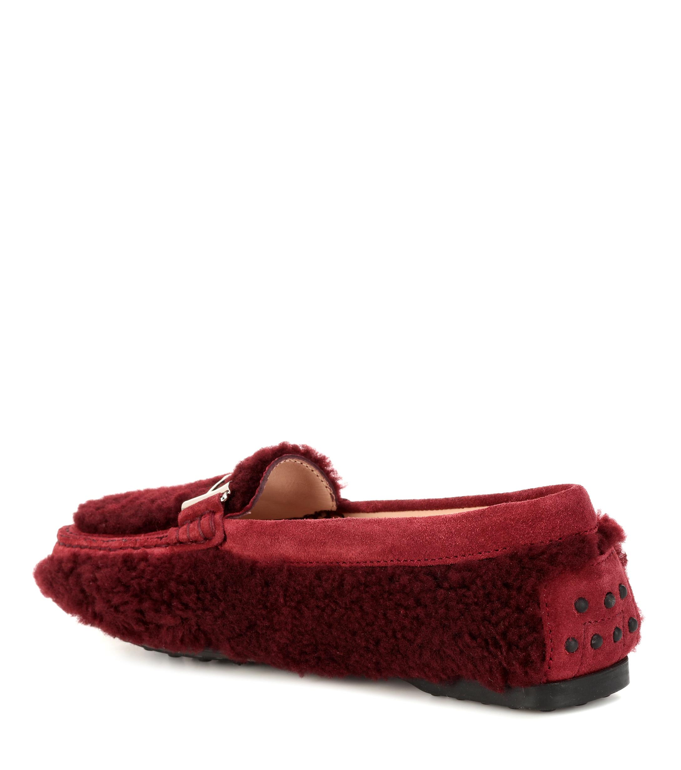 8363368a948 Tod s - Red Double T Shearling Loafers - Lyst. View fullscreen