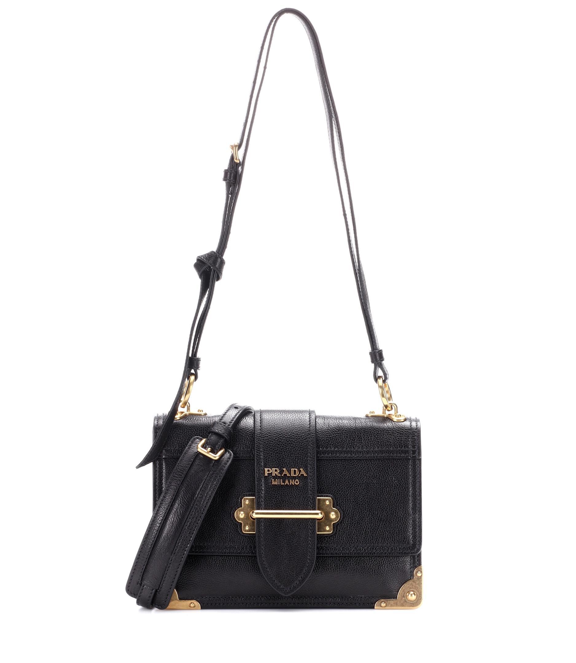 54cccd25005d Lyst - Prada Cahier Leather Shoulder Bag in Black