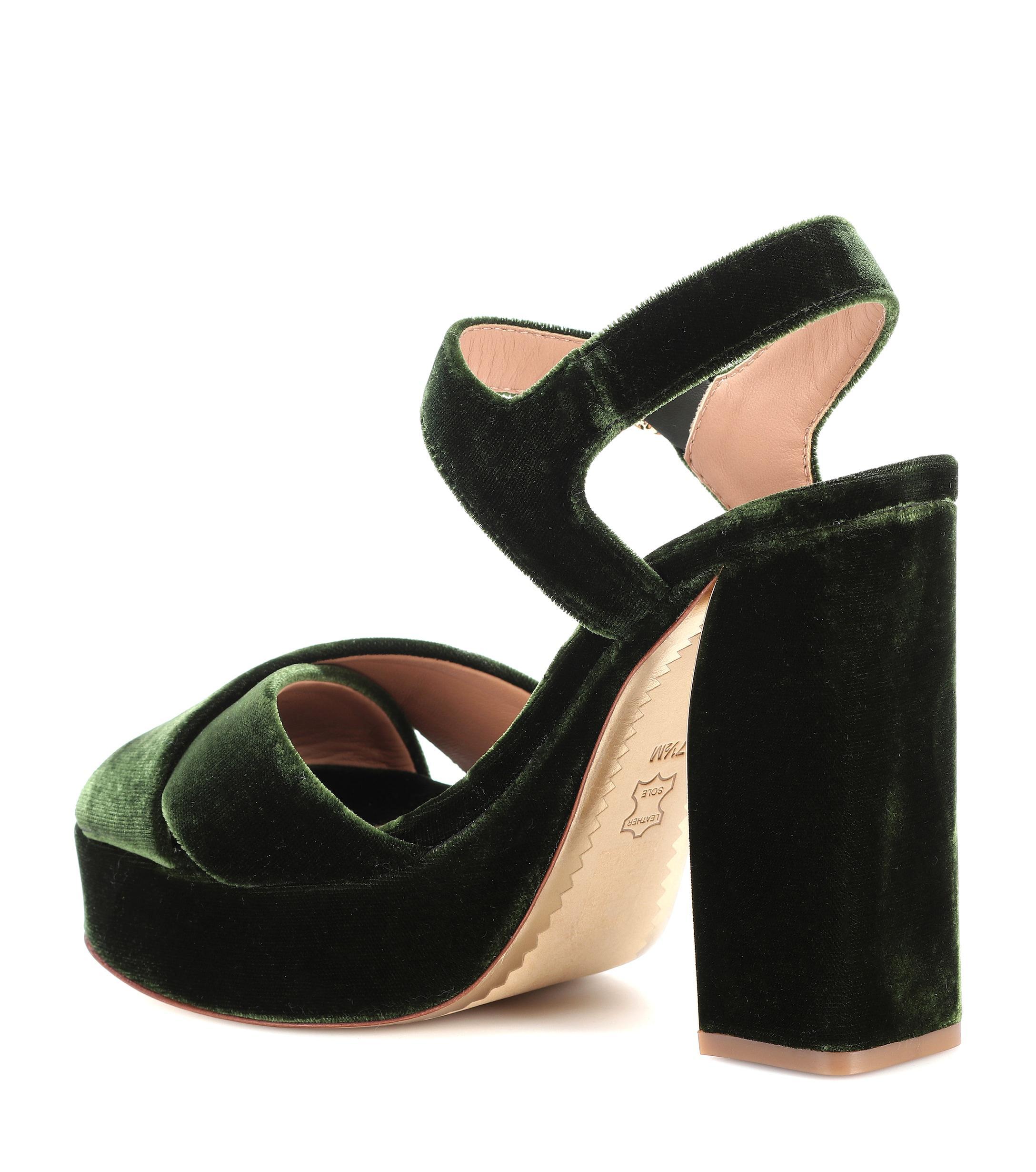 6bb30c143a7a Tory Burch - Black Loretta 115 Velvet Plateau Sandals - Lyst. View  fullscreen