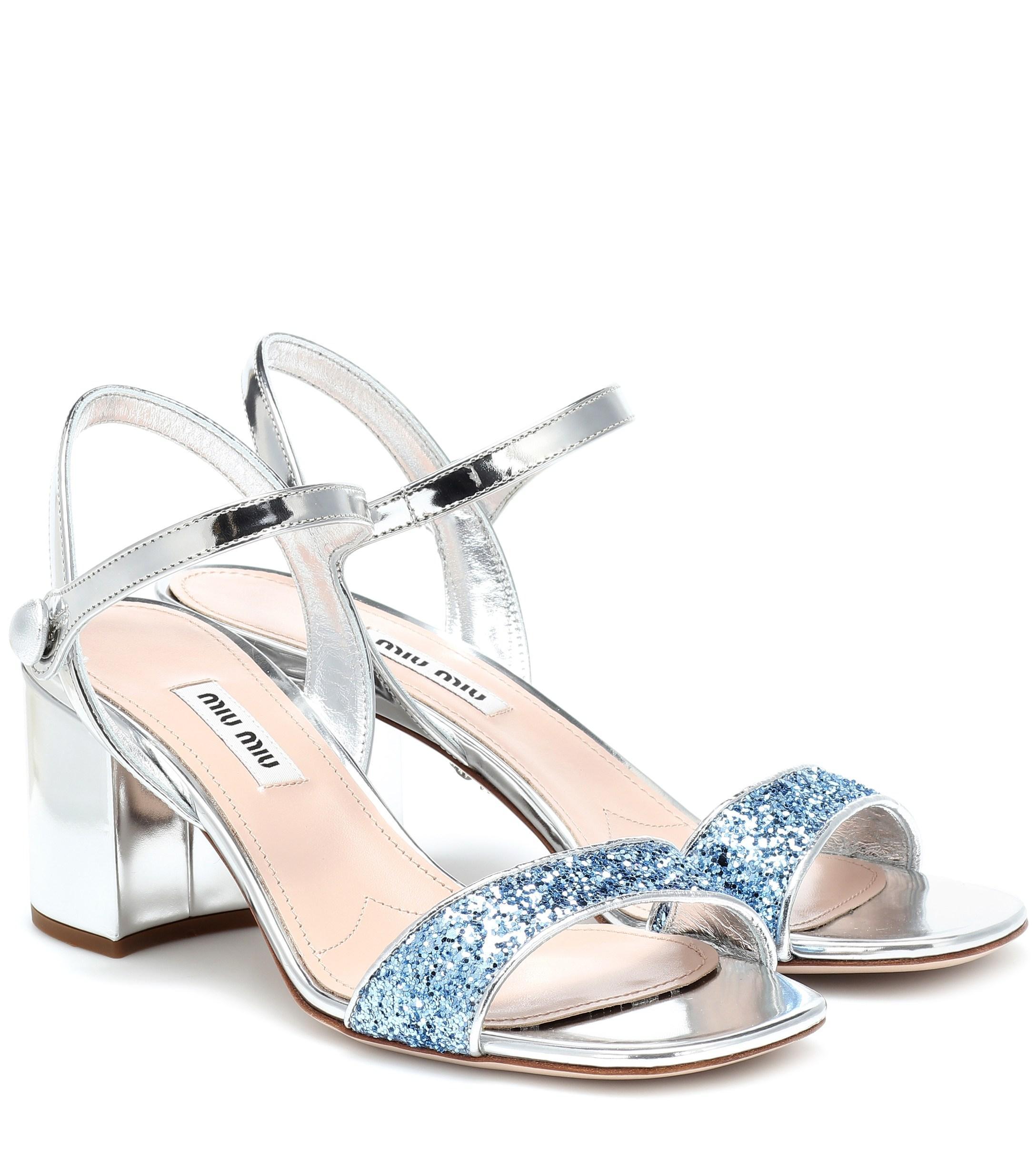 80cd604f5c41 Miu Miu. Women s Exclusive To Mytheresa – Metallic Patent Leather Sandals