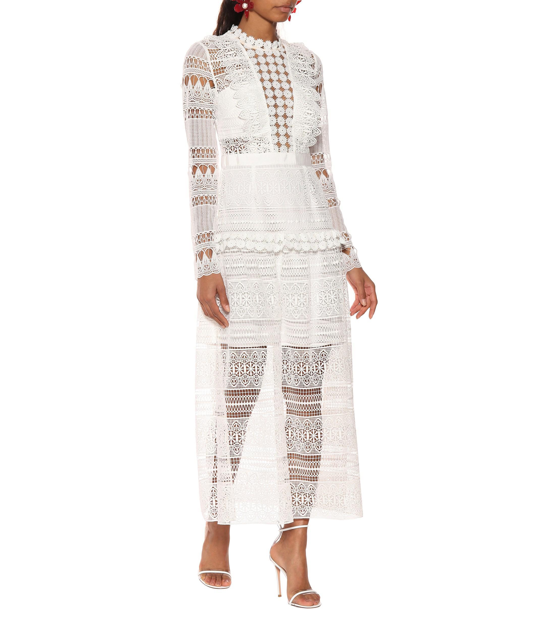 e35cc0d5530f Self-Portrait - White Lace Midi Dress - Lyst. View fullscreen