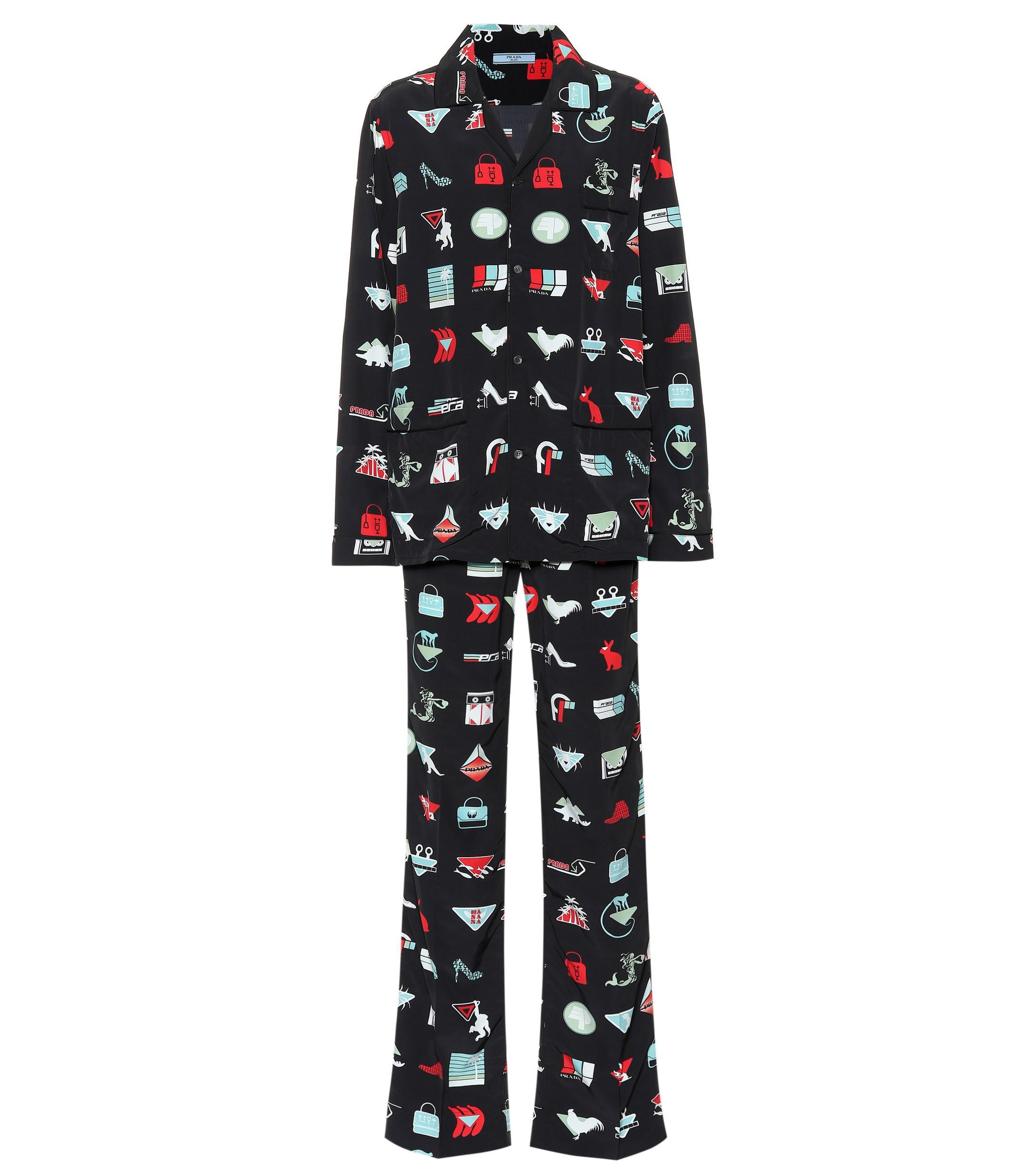 ba204d3948 Prada - Black Printed Pajama Set - Lyst. View fullscreen