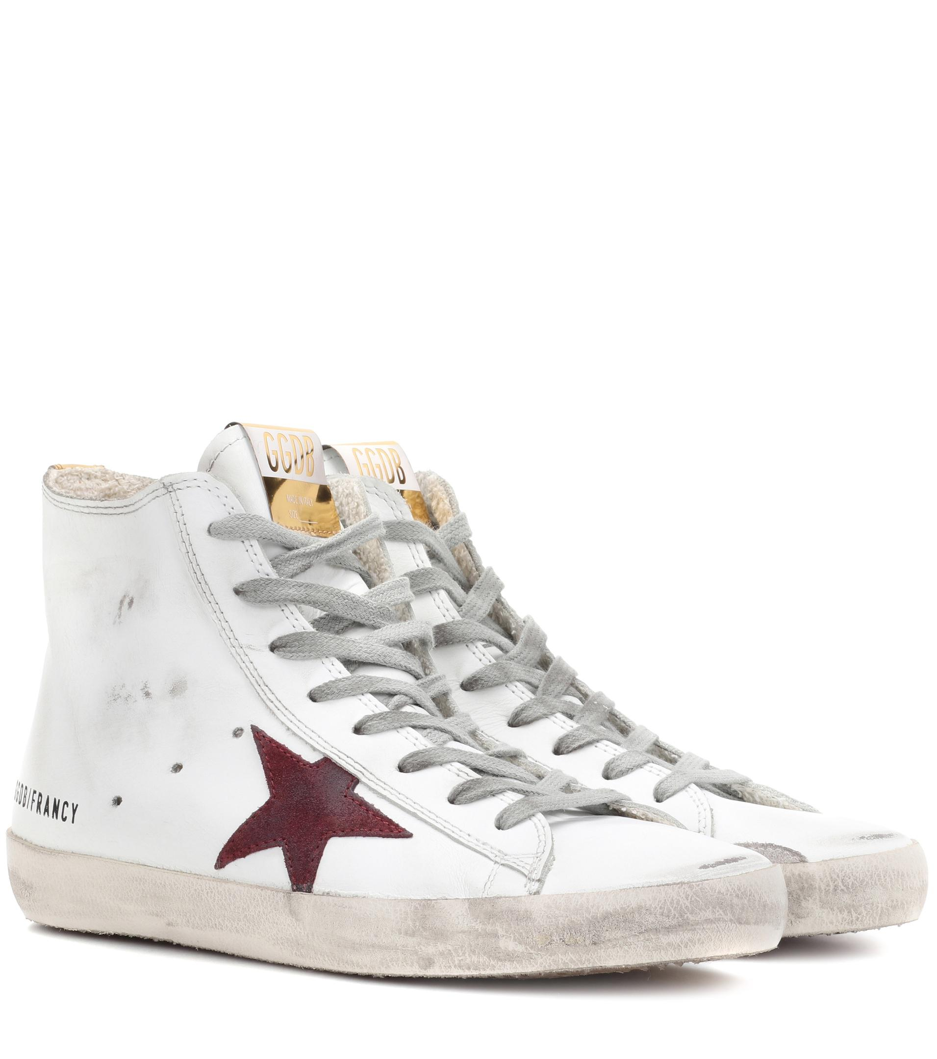 195d26e0bf88 golden goose deluxe brand women s white francy high-top leather trainers