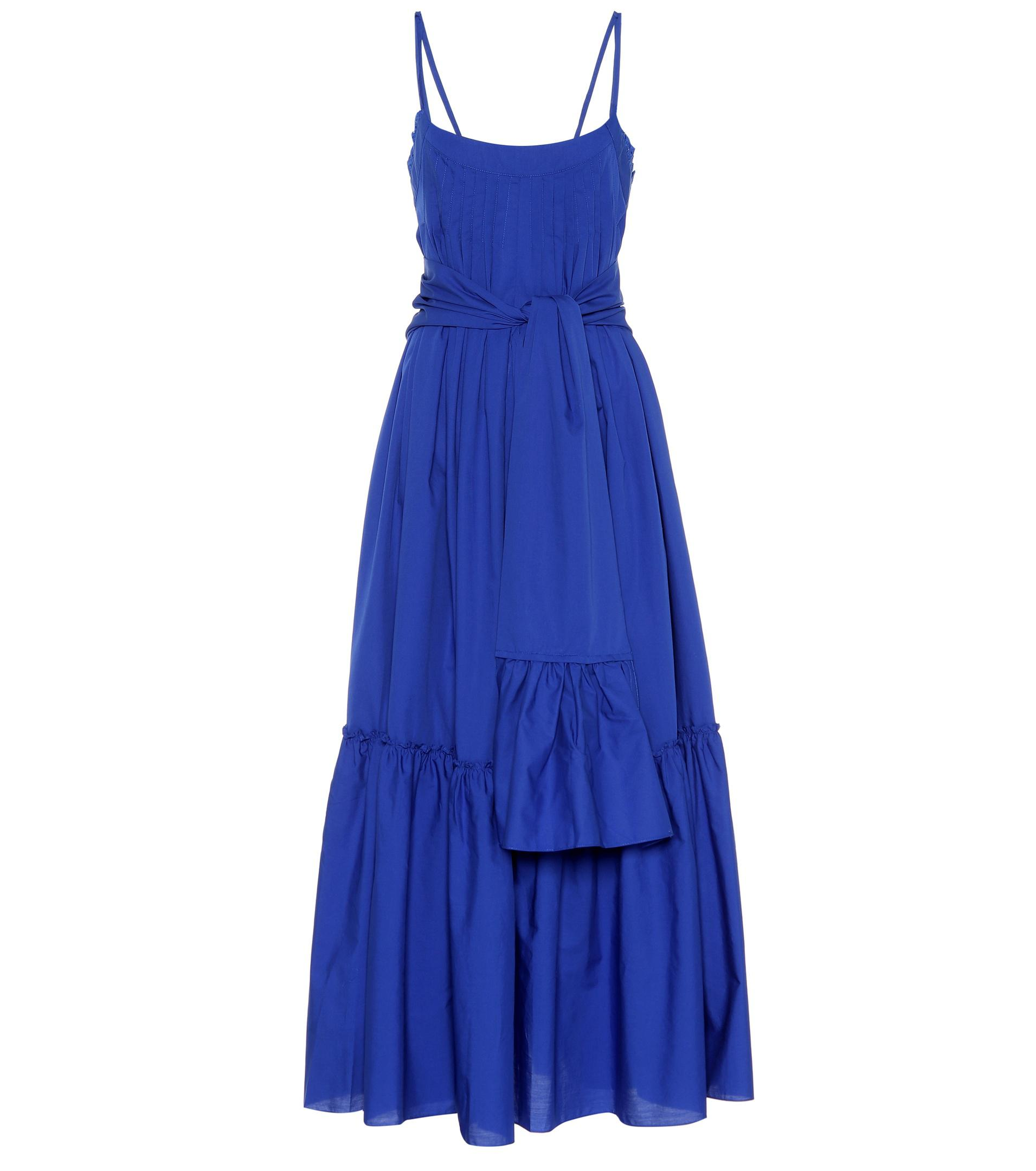 Adriadne Ruffled Cotton-poplin Maxi Dress - Cobalt blue Three Graces London uO0N7