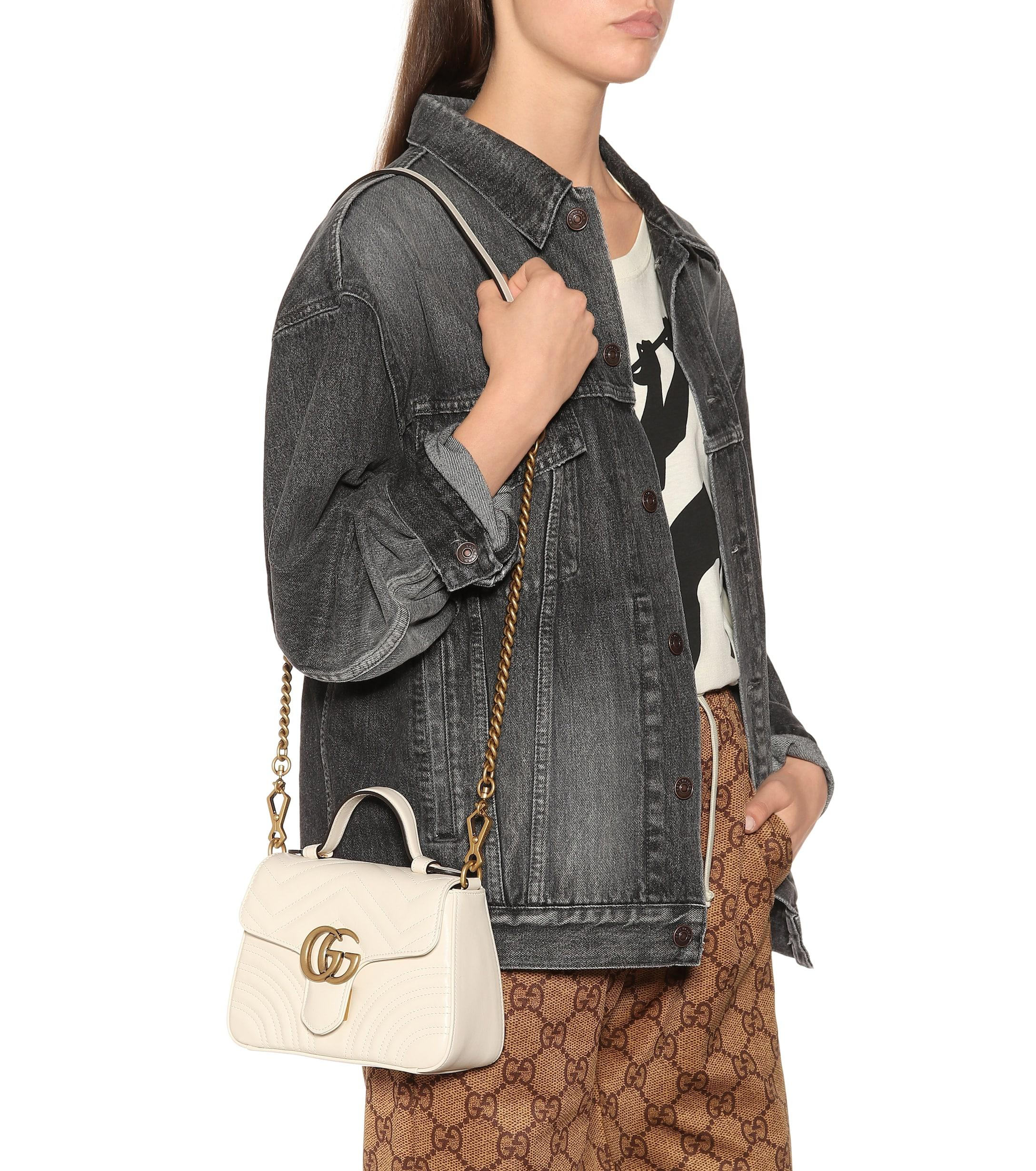 b66e68294616 Gucci - White Gg Marmont Mini Quilted Leather Shoulder Bag - Lyst. View  fullscreen