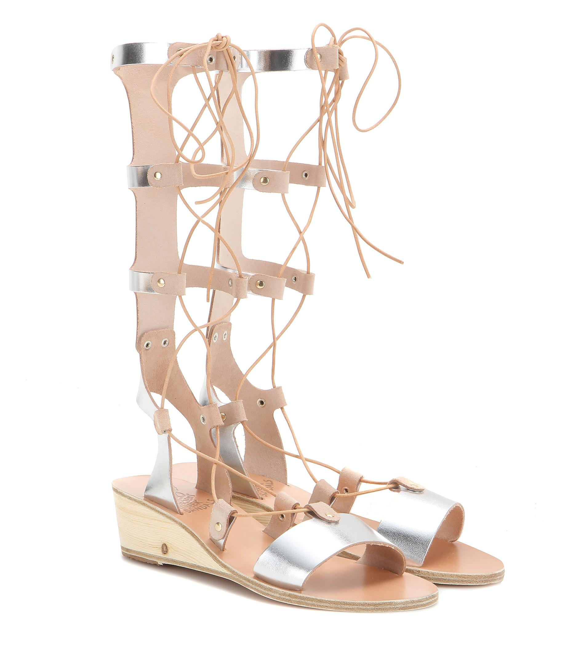 Ancient Greek Sandals Thebes Wedge metallic leather gladiator sandals 4JSF1