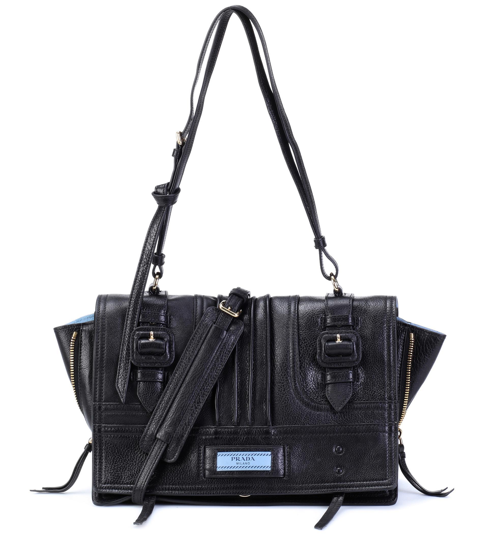 f73aa75b0982 Lyst - Prada Etiquette Leather Shoulder Bag in Black
