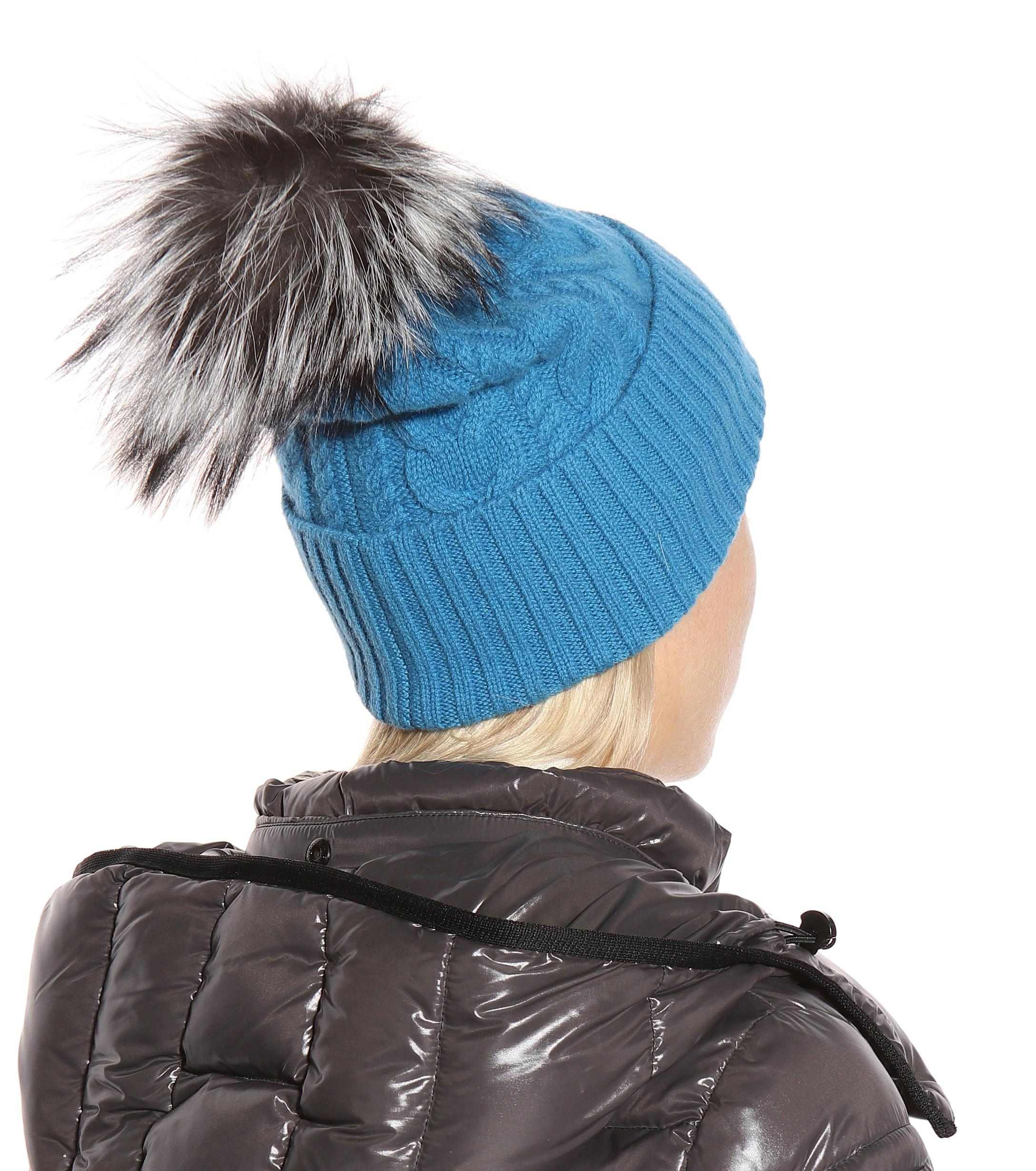 09c552472 Lyst - Moncler Fur-trimmed Wool-blend Beanie in Blue