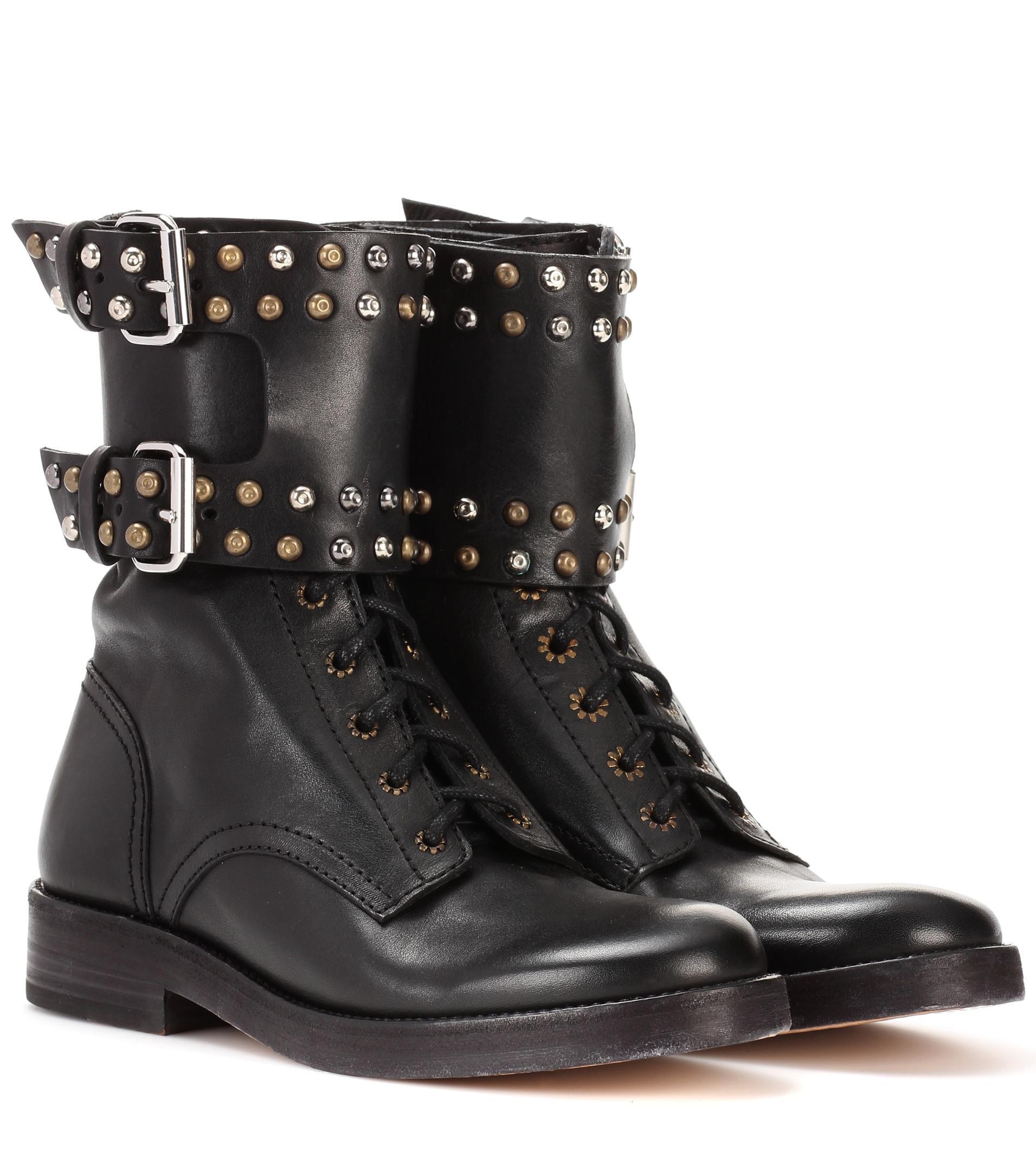 Isabel Marant  Women's Black Teylon Embellished Leather Ankle Boots