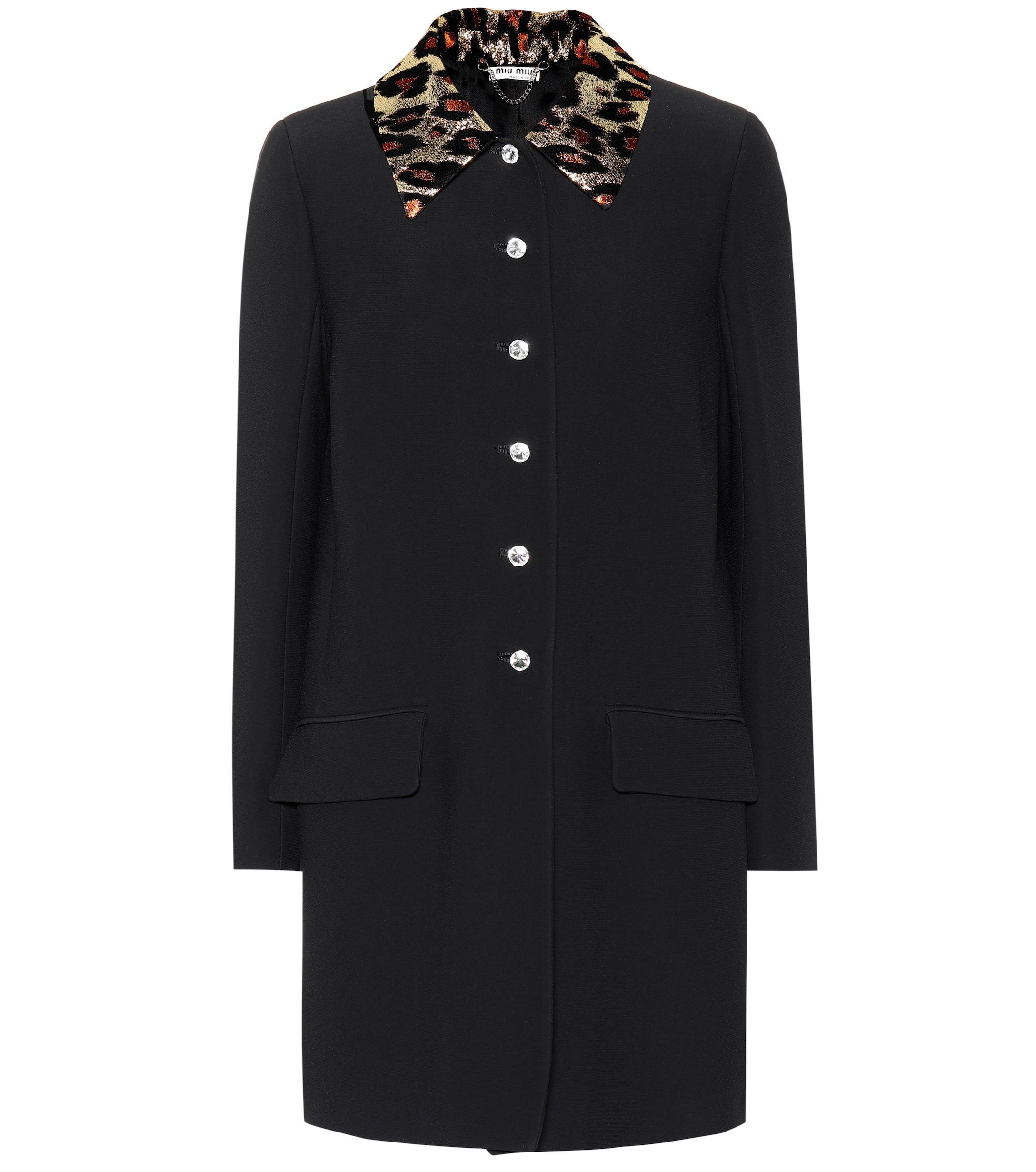 1b9503d8bddc Lyst - Miu Miu Crystal Embellished Coat in Black