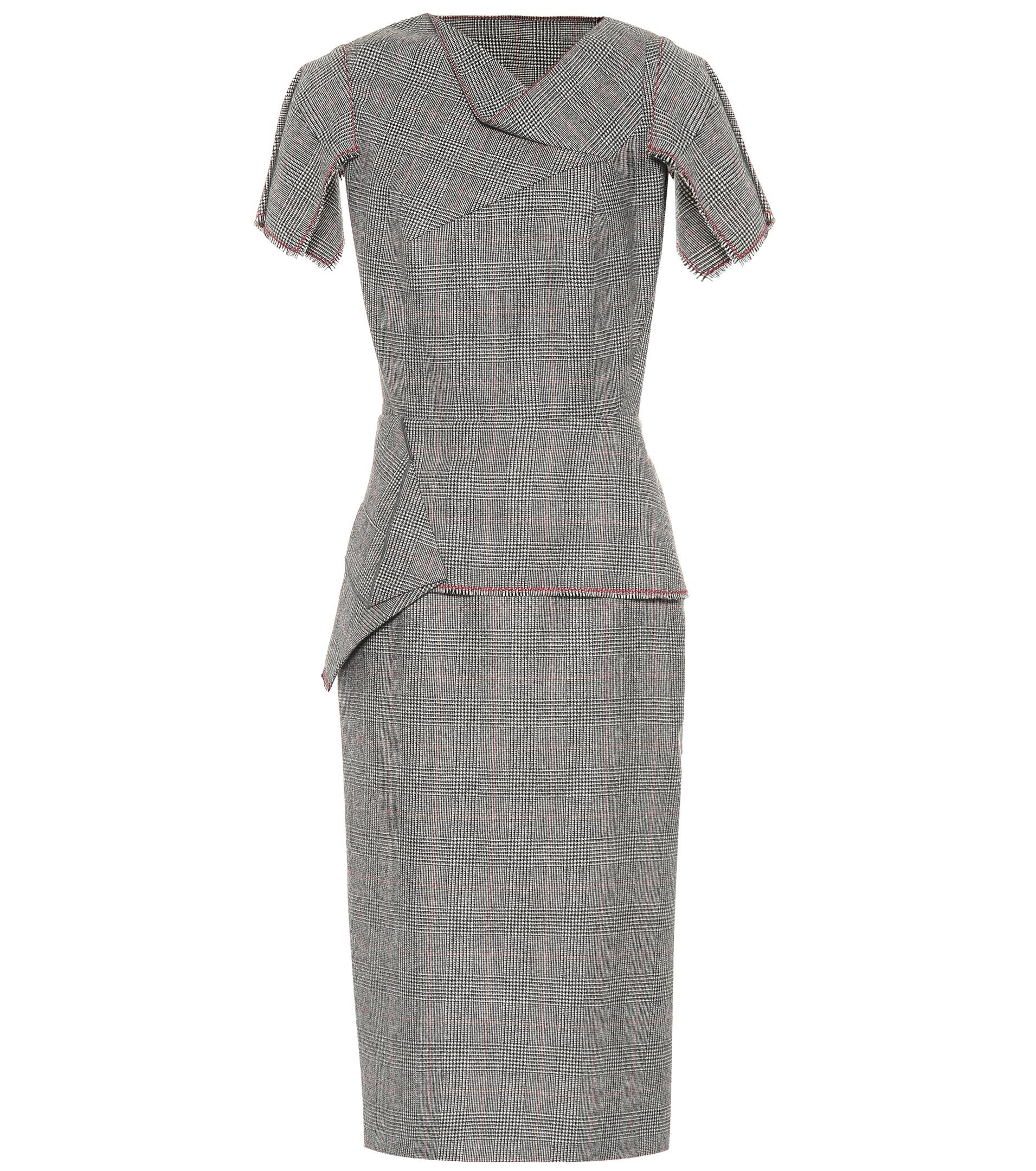 56f4edf0431 Lyst - Roland Mouret Checked Wool Midi Dress in Gray - Save 36%
