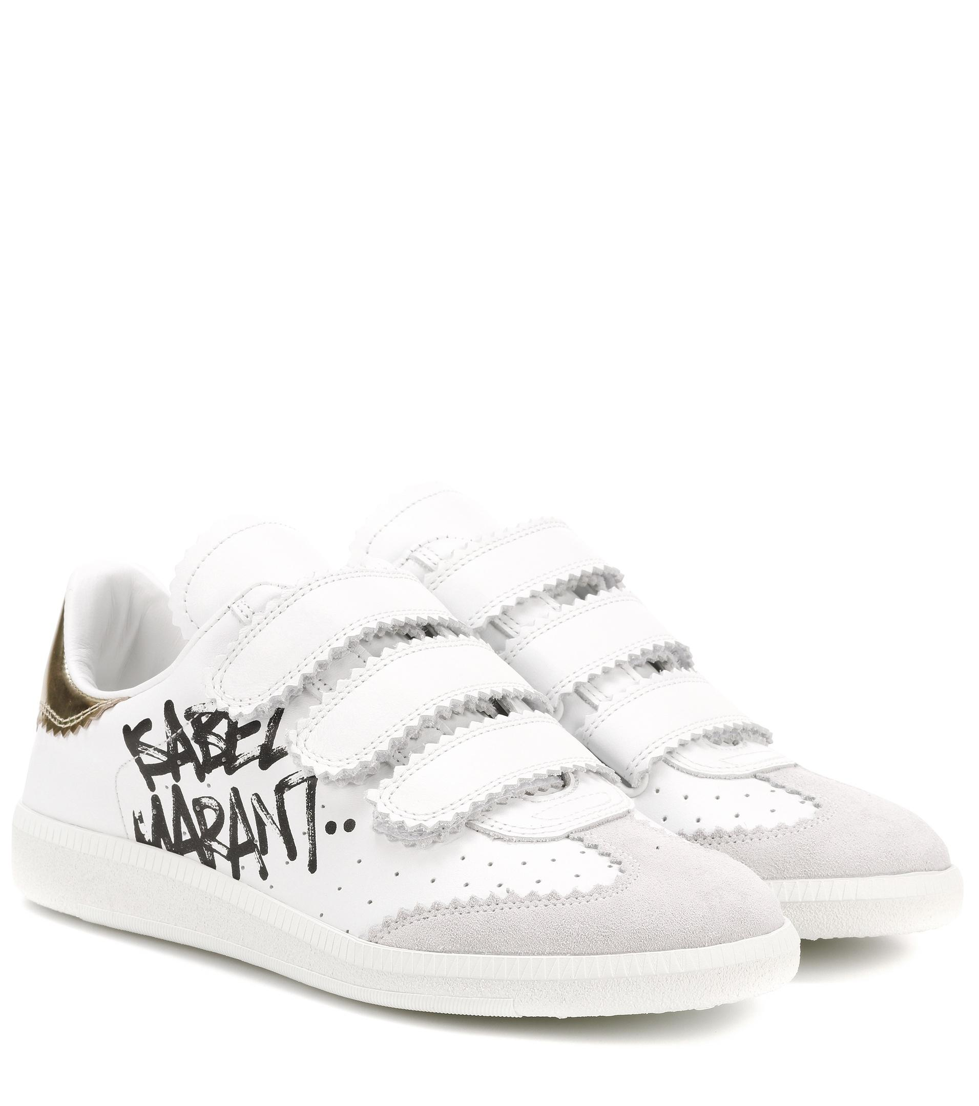 69dfca0d53 Isabel Marant Beth Printed Leather Sneakers in White - Lyst