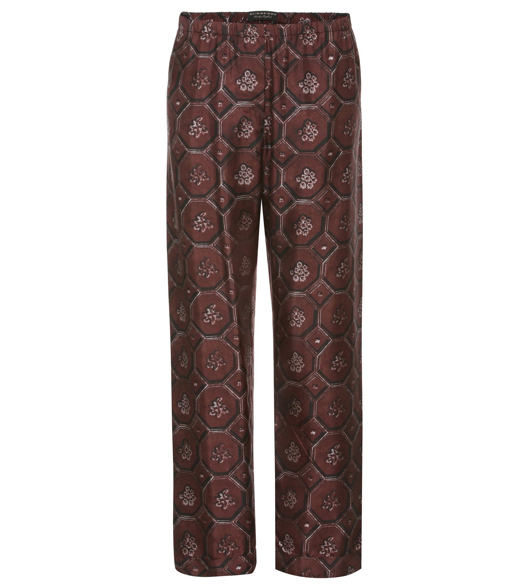 Lyst - Pantalon de pyjama en soie Burberry en coloris Marron 1e2d128d7db