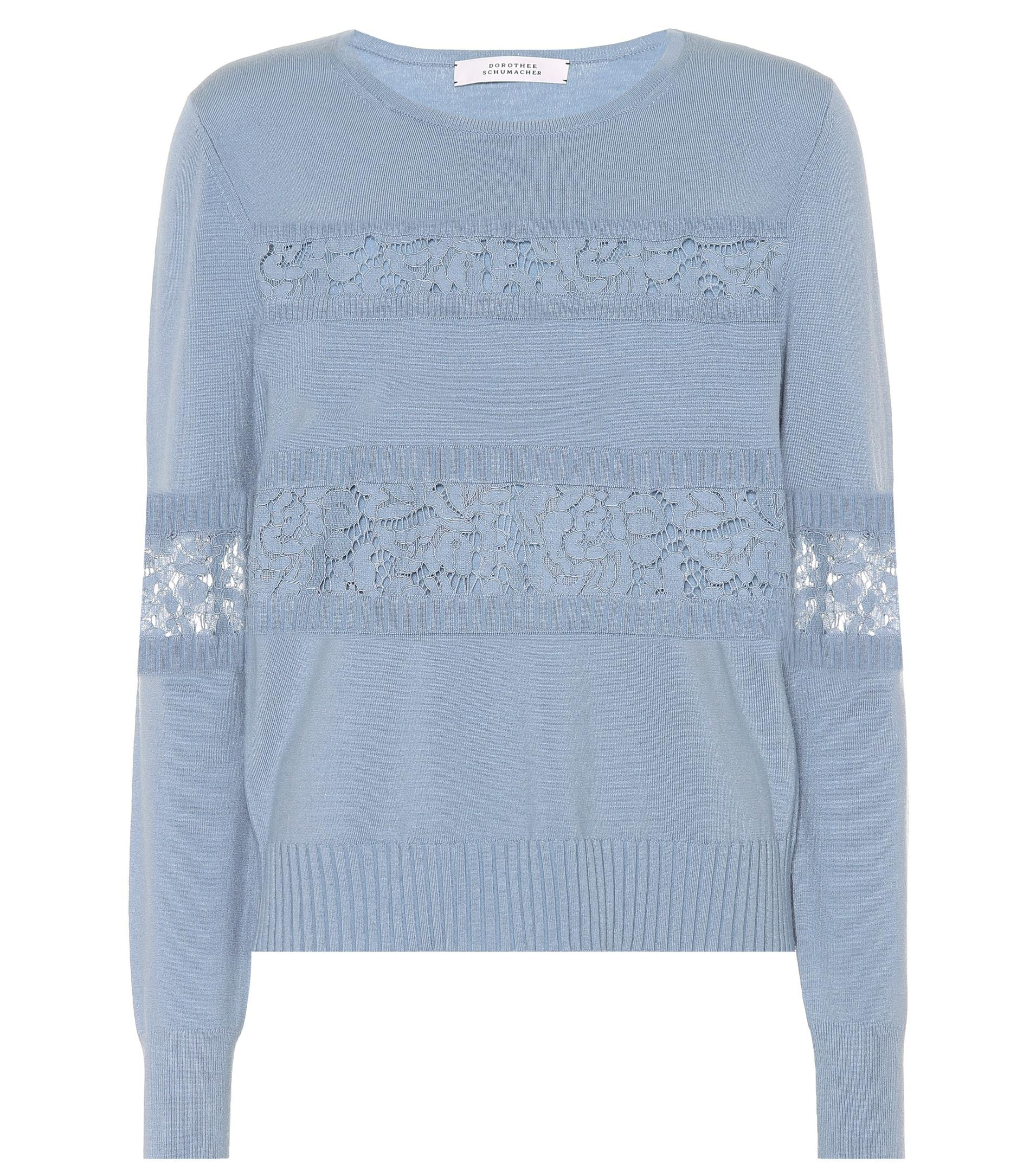 Lyst - Dorothee Schumacher Lace Embrace Wool-blend Sweater in Blue 92e230259