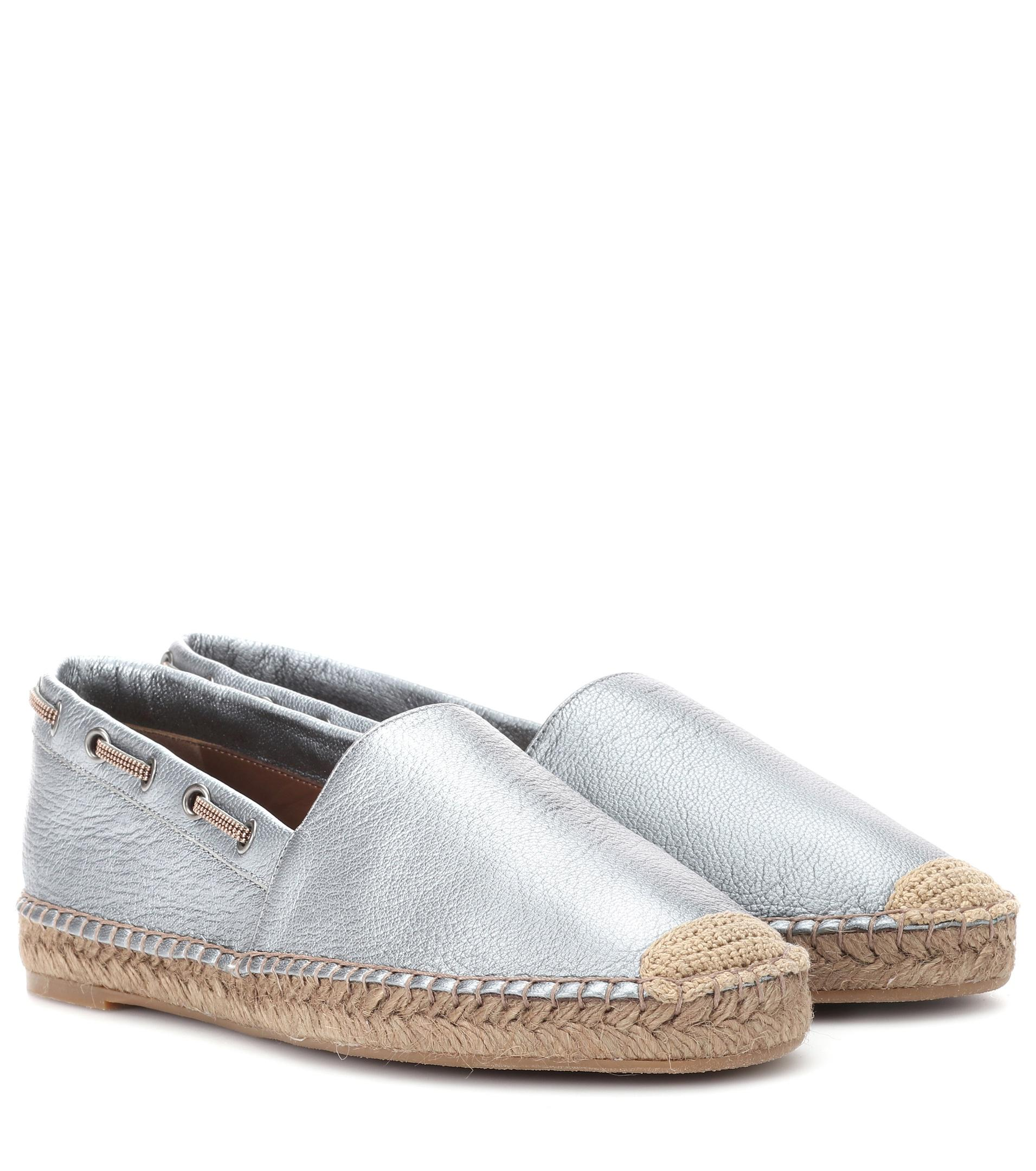 sale pick a best outlet visa payment Brunello Cucinelli Metallic leather espadrilles buy cheap low price fee shipping sale how much outlet pick a best qrGdAfYL