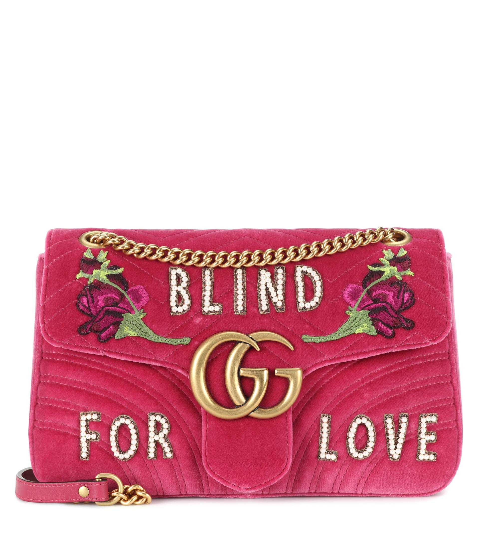 707f3ed67505 Lyst - Gucci Gg Marmont Medium Velvet Shoulder Bag in Pink