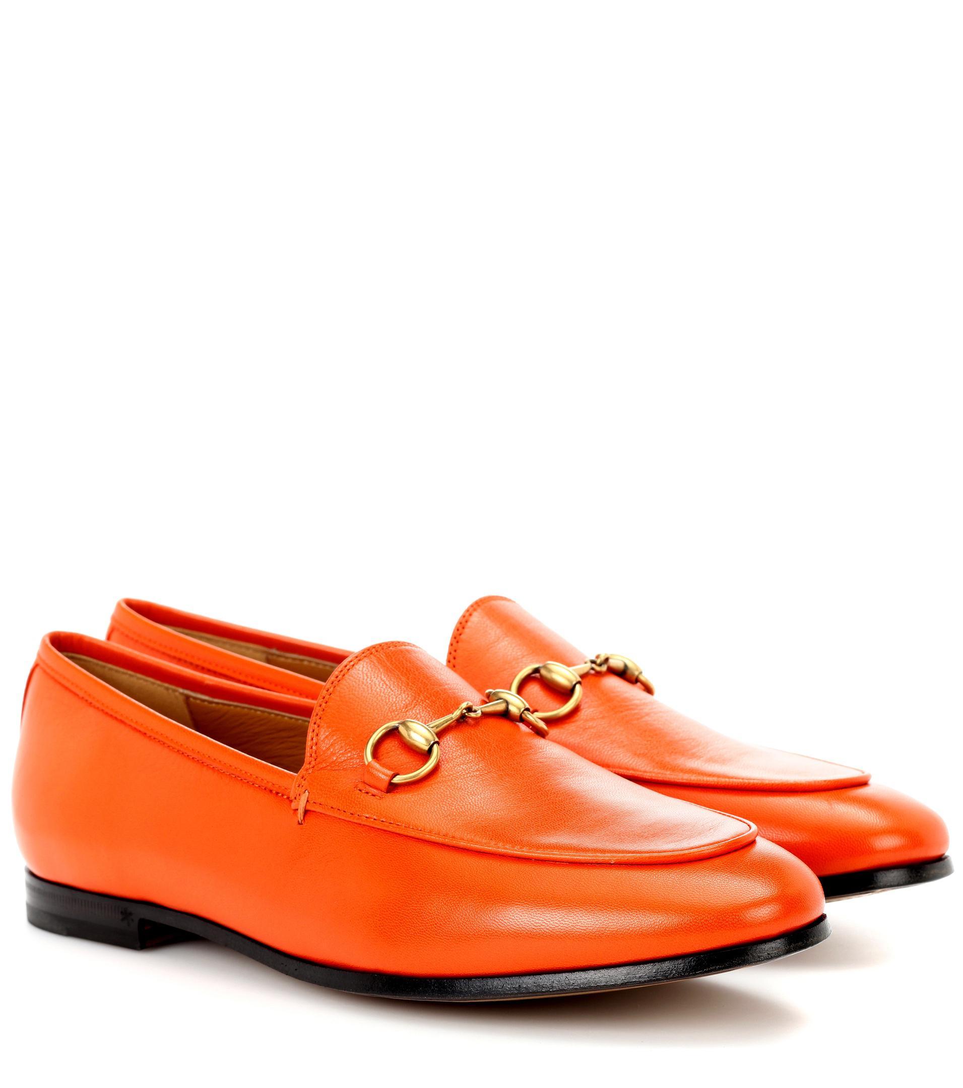 e4d9d64f2 Gucci Flat Jordaan Leather Loafer in Orange - Lyst