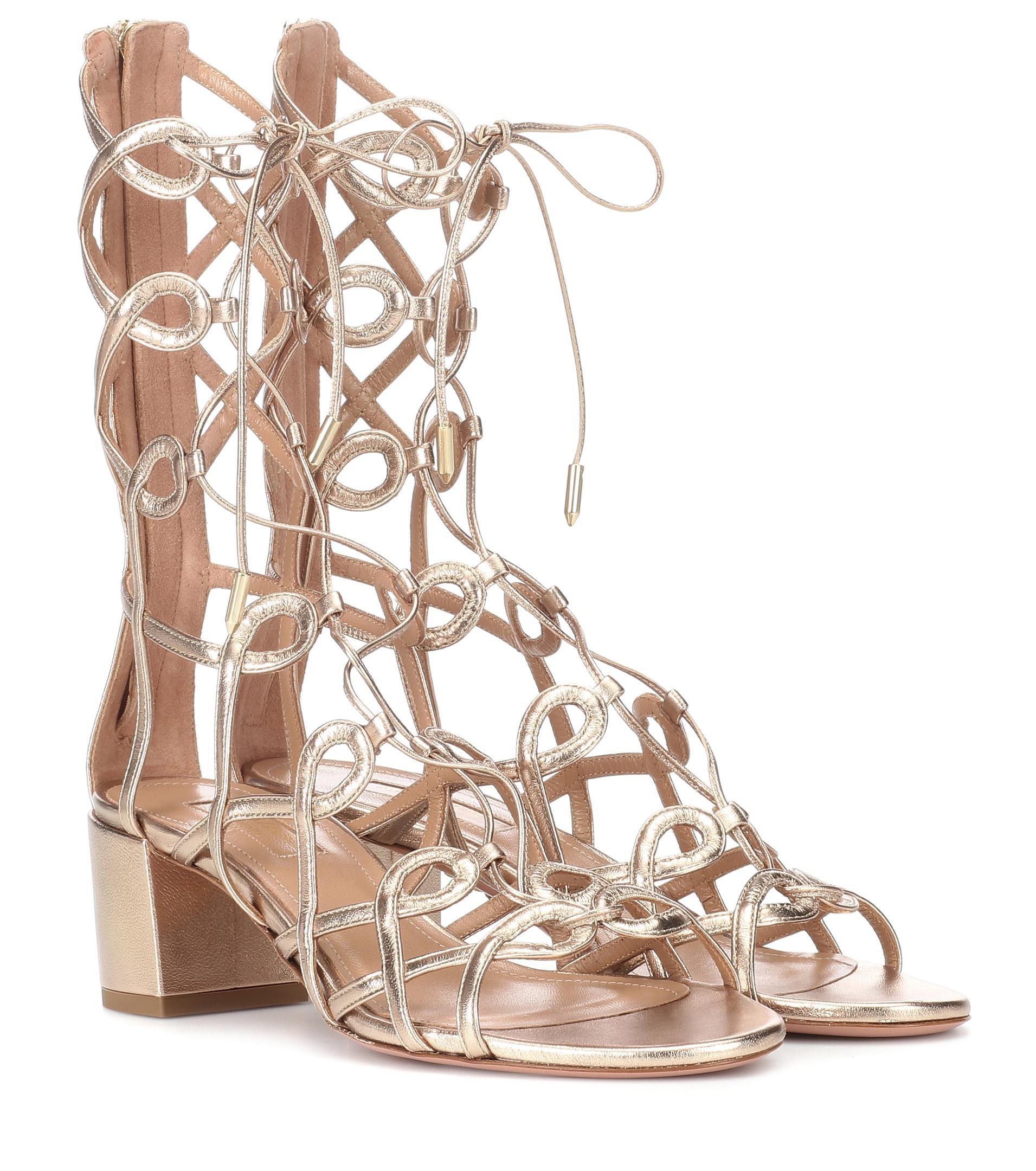 c9430e46dc2 Aquazzura Mumbai Gladiator 50 Leather Sandals in Metallic - Lyst