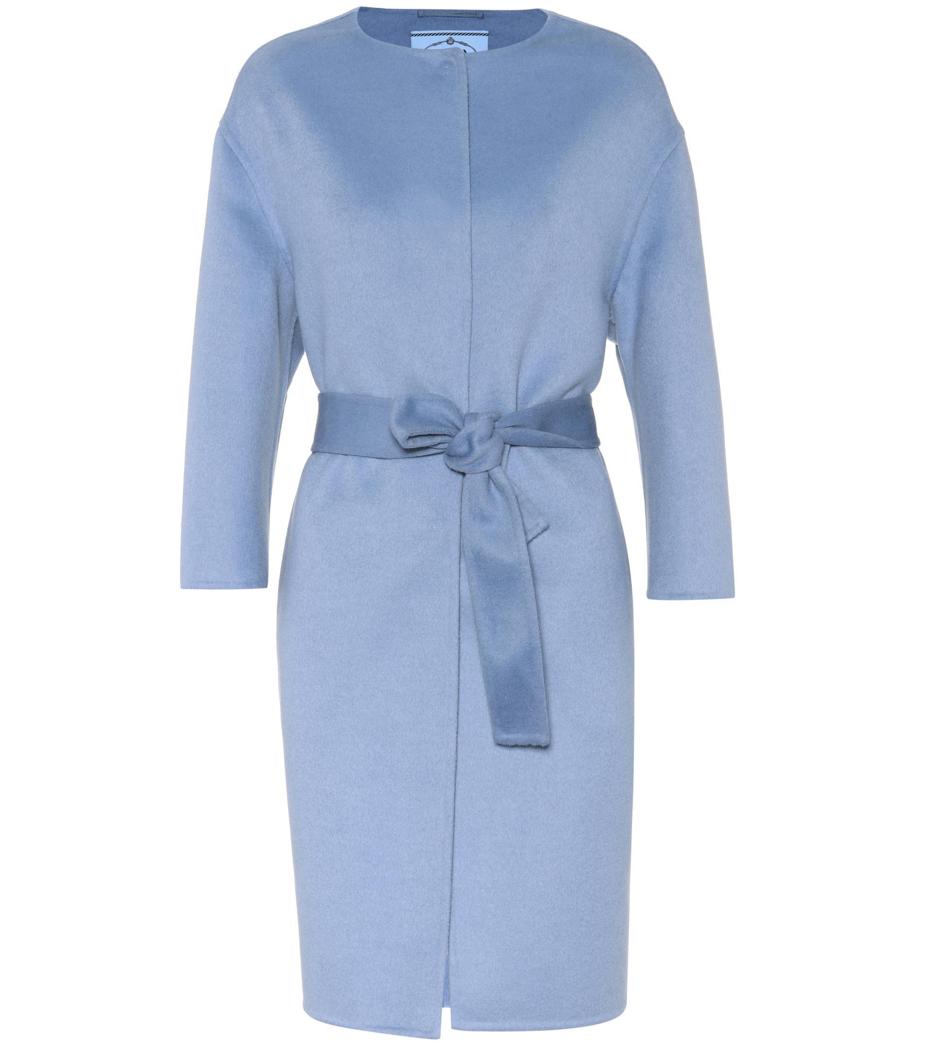 Lyst - Manteau en laine, angora et cashgora Prada en coloris Bleu 723b2249820